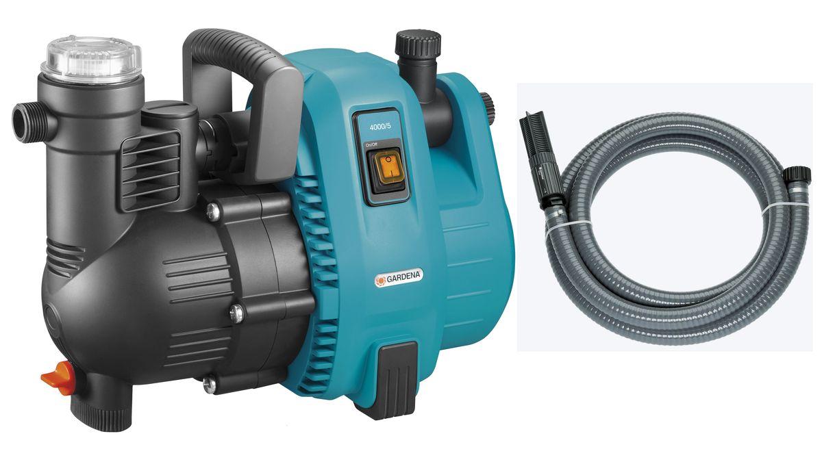 Набор Gardena: насос садовый 4000/5 Comfort + шланг заборный, с фильтром, 25 мм, 1, 7 м07796-20.000.00Садовый насос 4000/5 характеризуется повышенным удобством и минимальным уровнем шума при использовании в саду или дома. Высокая мощность всасывания и способность выдерживать высокое давление делает насос идеальным инструментом для полива, повышения давления, передачи или откачки водопроводной воды, дождевой воды или хлорированной воды бассейна. Встроенный фильтр предварительной очистки гарантирует бесперебойную работу насоса. Наличие двух выходов (один из которых откидной) позволяет подключать и использовать одновременно два поливочных инструмента. Насос прост и удобен в использовании. Широкое заливочное горло упрощает наполнение насоса перед первым использованием, а эргономичная ручка обеспечивает удобство транспортировки. Резиновые опоры обеспечивают устойчивость насоса, а также бесшумную эксплуатацию практически без вибраций. В преддверии морозной погоды насос легко опорожняется с помощью дренажной резьбовой пробки. Для увеличения срока службы продукции компания GARDENA использует материалы только высокого качества. Наличие керамических элементов и двойного уплотнения между двигателем и рабочим колесом обеспечивает безопасность эксплуатации и защиту насоса от повреждений. Термовыключатель обеспечивает защиту двигателя от перегрузок. Примечание. Насосы GARDENA не предназначены для перекачивания соленой воды, агрессивных и легко воспламеняющихся жидкостей, а также пищевых продуктов.Максимальная производительность по нагнетанию: 4000 л/ч.Максимальное давление: 4,5 Бар.Тип силового кабеля: H07 RNF. Максимальная высота самовсасывания: 8 м.Готовый к подключению вакуумоустойчивый спиральный армированный шланг для подсоединения к насосу напрямую. С фильтром для защиты насоса от повреждения вследствие попадания загрязнений, а также с обратным клапаном, который сокращает время всасывания насоса при повторном включении. Длина шланга 7 м, диаметр 25 мм (1 дюйм). Подходит для