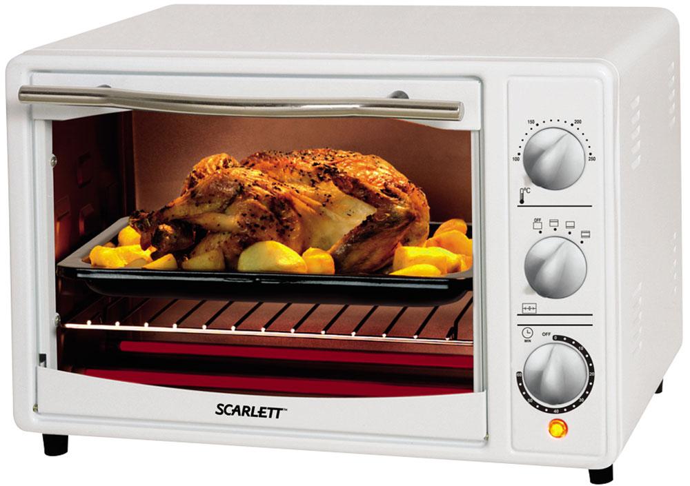 Scarlett SC-EO93O11, White мини-печьSC-EO93O11Мини-печь Scarlett SC-EO93O11 станет незаменимым помощником на кухне и поможет приготовить множество разнообразных блюд. Несмотря на свой компактный размер, модель обладает высокой мощностью - 1500 Вт.Для управления мини-печью используются удобные механические переключатели. Создатели предусмотрели таймер отключения, рассчитанный на 60 минут, с его помощью можно устанавливать время приготовления блюда.Световой индикатор покажет владельцу, что прибор включен и готов к использованию. Также предусмотрен звуковой сигнал, сообщающий о том, что сработал таймер отключения.
