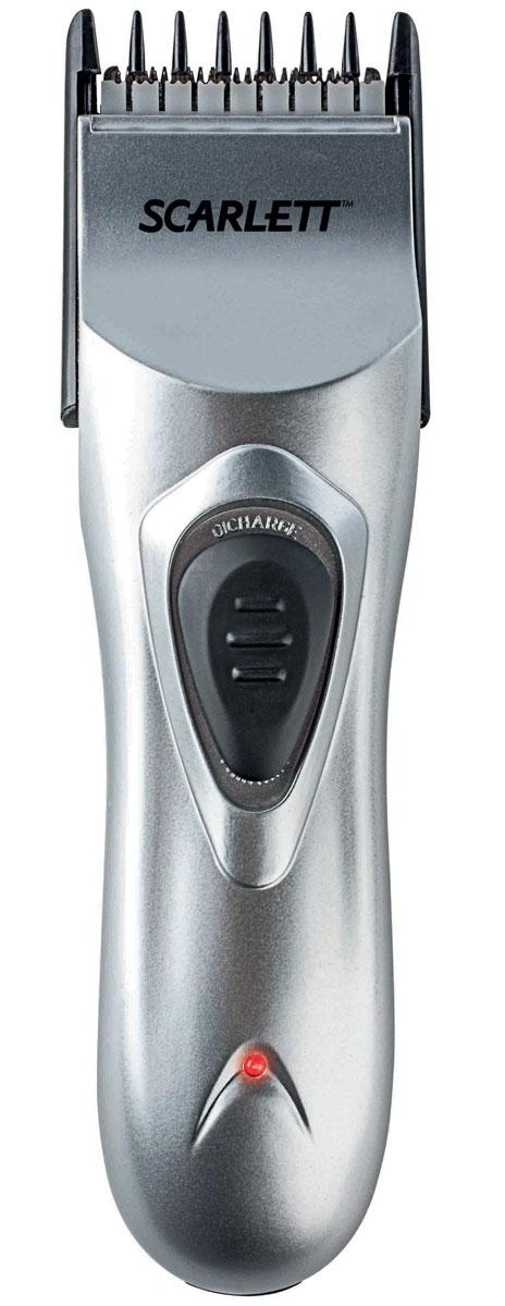Scarlett SC-160, Silver машинка для стрижки волосSC-160Scarlett SC-160 - лёгкая и удобная в использовании машинка для стрижки волос. С её помощью в домашних условиях можно выполнять стрижку на высоком профессиональном уровне.Лезвия машинки выполнены из прочной и долговечной нержавеющей стали, они обеспечивают высокую точность стрижки.К модели прилагаются расчёска и ножницы, позволяющие повысить качество стрижки, а также масло для смазки и щёточка для чистки, щёточка для чистки, делающие уход за этим устройством особенно простым.Фиксатор длины для точной настройкиТелескопическая насадка7 вариантов длины стрижки от 1 до 17 ммФункция филировки