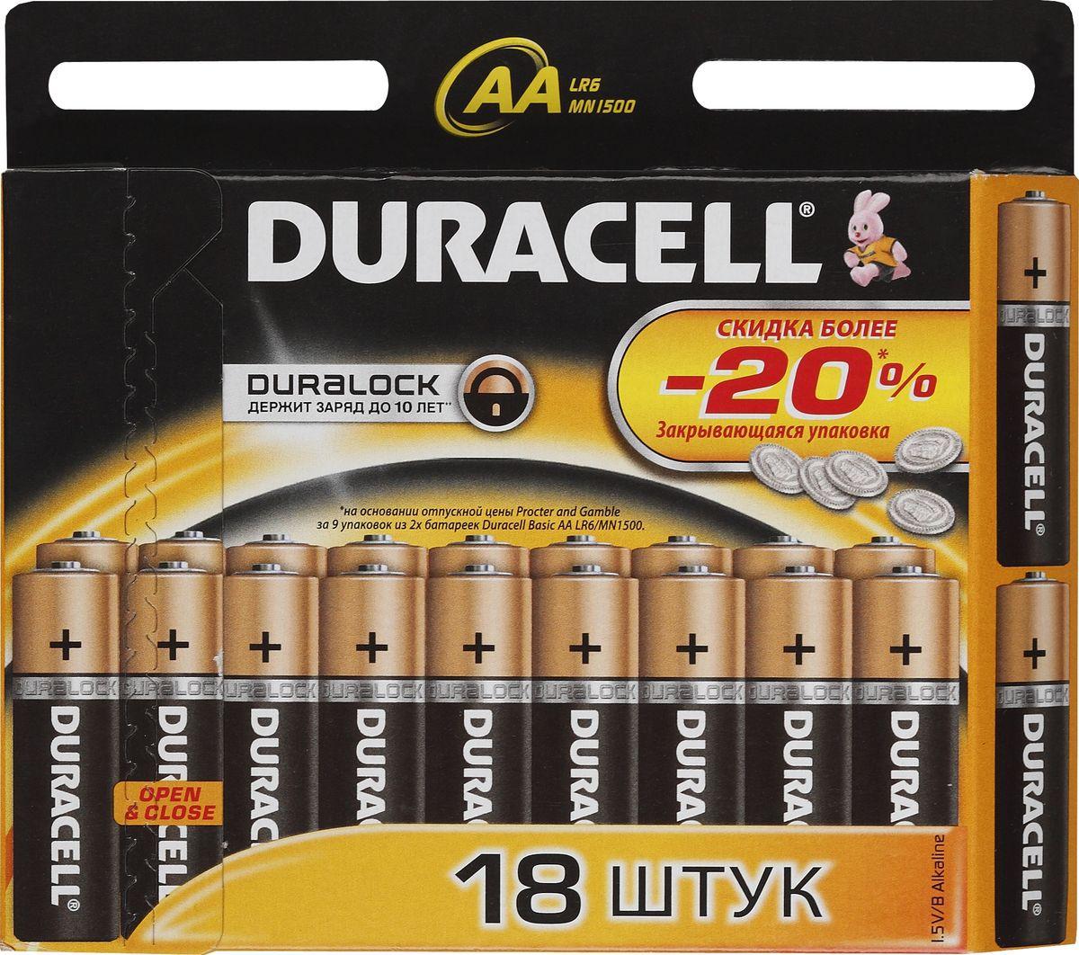 Набор алкалиновых батареек Duracell Basic, LR6-18BL, 18 шт81483682Набор батареек Duracell Basic предназначен для использования в различных электронных устройствах небольшого размера, например в пультах дистанционного управления, портативных MP3-плеерах, фотоаппаратах, различных беспроводных устройствах.Уважаемые клиенты!Обращаем ваше внимание на возможные изменения в дизайне упаковки. Качественные характеристики товара остаются неизменными. Поставка осуществляется в зависимости от наличия на складе.