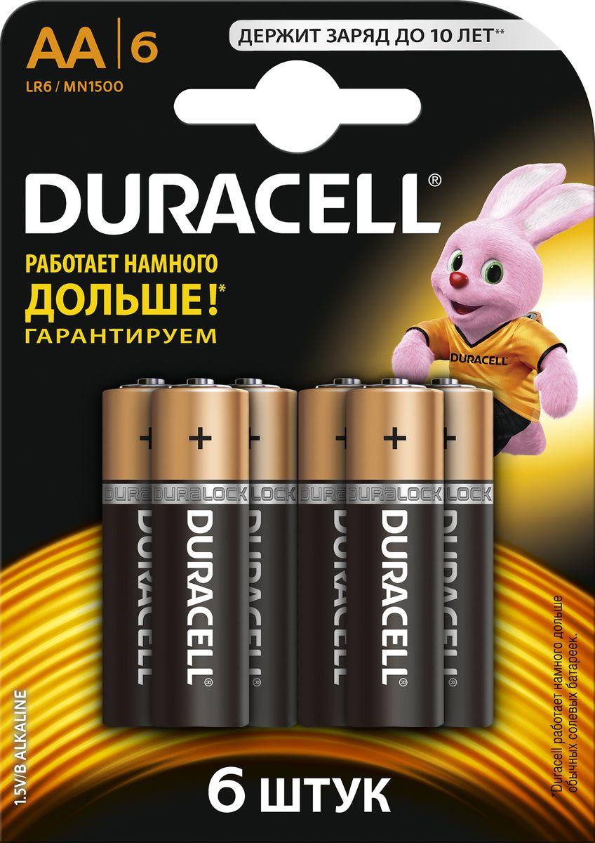 Набор алкалиновых батареек Duracell Basic, LR6-6BL, 6 шт81485016Набор батареек Duracell Basic предназначен для использования в различных электронных устройствах небольшого размера, например в пультах дистанционного управления, портативных MP3-плеерах, фотоаппаратах, различных беспроводных устройствах.Уважаемые клиенты! Обращаем ваше внимание на то, что упаковка может иметь несколько видов дизайна. Поставка осуществляется в зависимости от наличия на складе.