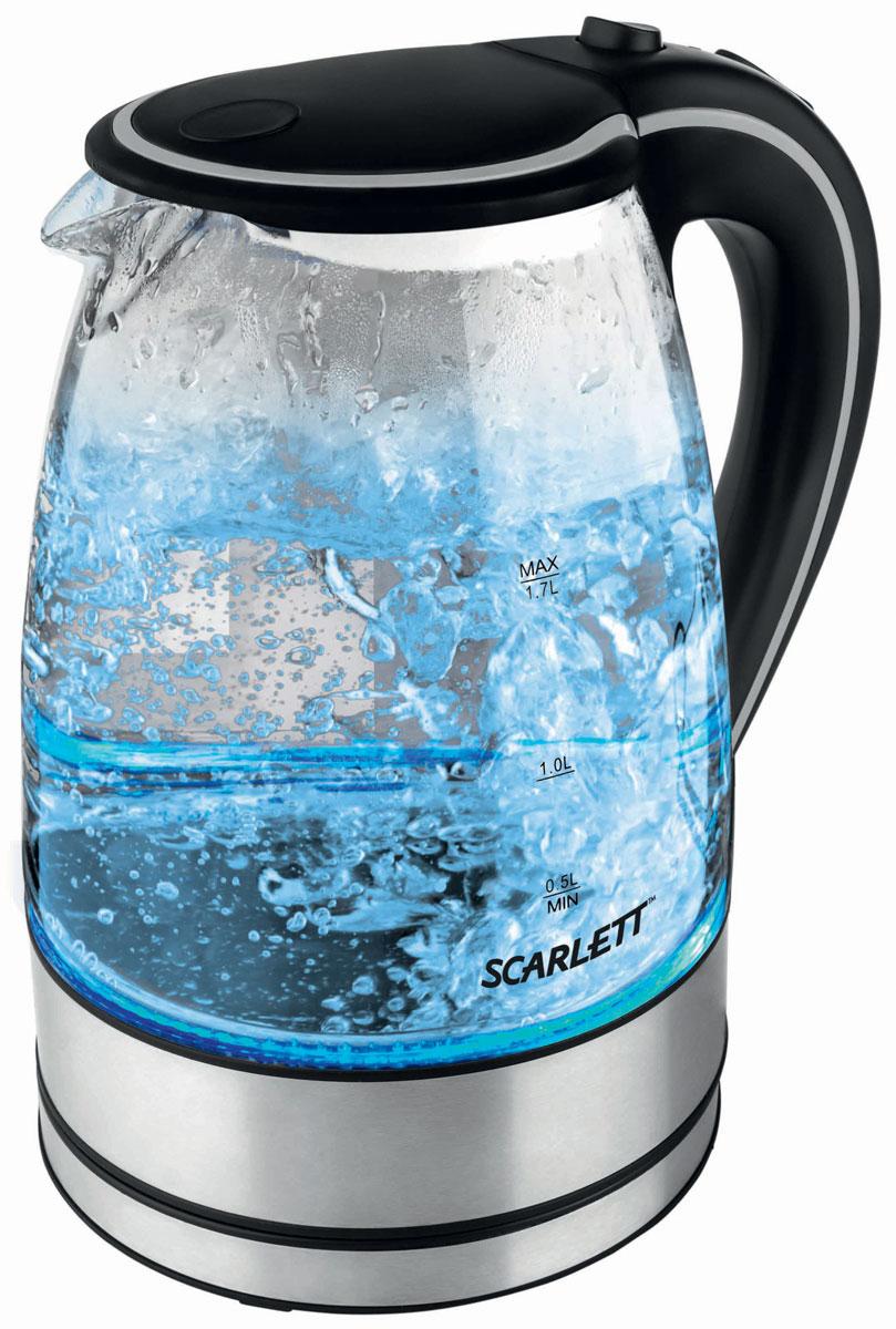 Scarlett SC-1024, Black электрический чайникSC-1024Главная особенность электрического чайника Scarlett SC-1024 – это надежный и стильный корпус, выполненный из термостойкого стекла. Прибор оснащен специальным фильтром, чтобы накипь не попадала в кипяток. Этот электрочайник безопасен в использовании: он не включится, если в нем нет воды, а это продлевает срок службы нагревательного элемента.Нагревательный элемент представляет собой закрытую спираль, которую удобно и легко чистить. Так как чайник крутится на все 360 градусов, его можно устанавливать на базу в любом положении. Очень интересно выполнен индикатор работы прибора: при включении вода начинает подсвечиваться голубым светом. Благодаря этой изюминке чайник несомненно станет украшением вашей кухни.