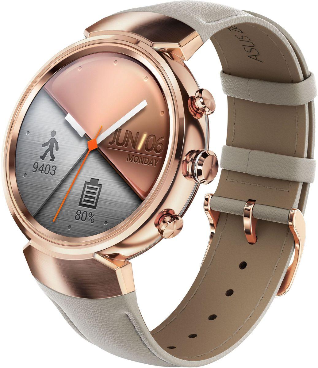 ASUS ZenWatch 3 WI503Q, Rose Gold смарт-часыWI503Q-3LBGE0005ASUS ZenWatch 3 - это современное цифровое устройство, выполненное в соответствии с давними традициями часового искусства из высококачественных материалов и с вниманием к каждой детали. Эти часы умеют делать гораздо больше, чем просто показывать время, а благодаря широким возможностям по персонализации их интерфейса вы легко можете настроить их по своему вкусу. Длительное время автономной работы и технология быстрой подзарядки аккумулятора делают ASUS ZenWatch 3 по-настоящему мобильным устройством, которое всегда будет готово к работе.Своим внешним видом ASUS ZenWatch 3 ближе к традиционным часам, чем к современным цифровым гаджетам. Их стильный дизайн вдохновлен образом солнечного затмения, а широчайшая функциональность реализована с безупречным мастерством.Корпус часов ZenWatch 3 изготовлен из ювелирной нержавеющей стали марки 316L, которая наделяет их не только превосходным внешним видом, но и долговечностью, ведь ее прочность на 82% выше по сравнению с обычной сталью. Высокий статус устройства подчеркивает тонкая отделка оправы.В облике нового устройства ASUS можно отметить необычные для умных часов элементы, а именно три боковых кнопки. Верхняя кнопка является программируемой. Она предоставляет доступ к любимому приложению или функции. Средняя кнопка переключает часы в различные режимы работы, а нижняя моментально активирует специальный энергосберегающий режим.Ремешок часов ZenWatch 3 изготавливается из натуральной кожи, обработанной по традиционной итальянской технологии. Он придает устройству великолепный внешний вид и обеспечивает максимальный комфорт при ношении.Три визуальных темы и более 50 эксклюзивных вариантов циферблата, с которыми поставляются часы ZenWatch 3, позволяют легко настроить их внешний вид по своему вкусу.Часы ZenWatch 3 помогают структурировать различную информацию - сообщения от друзей, напоминания о запланированных встречах, прогноз погоды и многое другое - и выдают ее в нужный