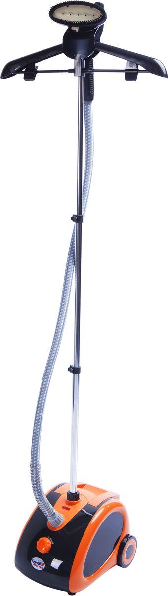 Grand Master GM-A600 отпаривательA600Отпариватель GM-А 600 для вертикального отпаривания одежды от компании Grand Master – компактное и вместе с тем мощное устройство, паровой утюжок которого покрыт белым инновационным керамическим покрытием.Керамический композит на паровом утюжке GM-А 600 обладает прочностью, устойчивостью к стиранию и высокой теплопроводностью. Такой паровой утюжок способствует отличному разглаживанию складок на одежде при помощи пара. Продолговатые углубления вокруг паровых отверстий на утюжке улучшают проникновение пара сквозь волокна ткани и препятствуют возникновению конденсата.Механический регулятор выбора режимов отпаривания позволяет выбирать между средним и интенсивным паром. Двух режимов отпаривания вполне достаточно, чтобы разгладить складки на одежде из любых видов тканей.Колеса отпаривателя GM-А 600 не скользят и не прокручиваются на любых видах напольных покрытий, тем самым обеспечивают быстрое перемещение аппарата в помещении.Телескопическая стойка и вешалка служат для удобного размещения одежды и делают процесс отпаривания комфортным и быстрым. На корпусе отпаривателя GM-А 600 есть панель для намотки электрического шнура.Время ожидания готовности: 45 секВремя непрерывной работы: 60 мин