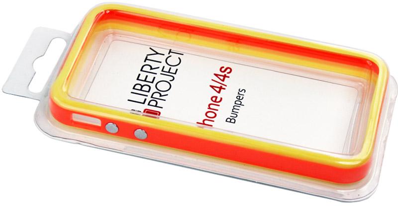 Liberty Project Bumpers чехол для Apple iPhone 4/4S, Orange YellowCD123209Бампер Liberty Project Bumpers для Apple iPhone 4/4S защитит ваш гаджет от механических повреждений. Чехол имеет свободный доступ ко всем разъемам и клавишам устройства.
