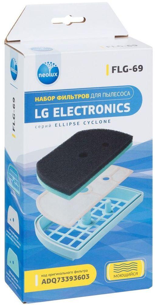 Neolux FLG-69 комплект фильтров для пылесосов LGFLG - 69Neolux FLG-69 - набор предмоторных фильтров в пластиковом контейнере. Фильтры совместимы с пылесосами от компании LG серии Ellipse Cyclone.