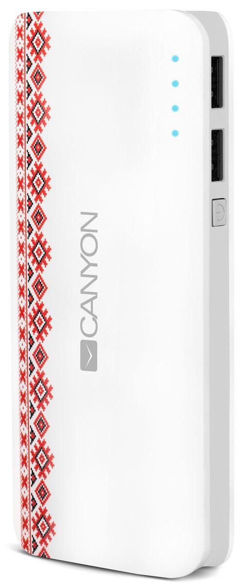 Canyon CNE-CPB130V Vyshyvanka Pattern внешний аккумулятор (13000 мАч)CNE-CPB130VЕсли в вашей сумке лежит аккумулятор CNE-CPB130V от Canyon — вы не останетесь с разряженной батареей смартфона или планшета. Низкий заряд гаджета больше не проблема – благодаря двум USB-портам от ультраемкого аккумулятора Canyon можно заряжать 2 устройства одновременно! Емкости аккумулятора должно хватить на 5 зарядок среднестатистического смартфона, а проследить уровень заряда аккумулятора можно с помощью светодиодных индикаторов. Корпус аккумулятора украшен изящным принтом в стиле вышиванки — традиционной славянской вышивки. Отличный спутник для города!