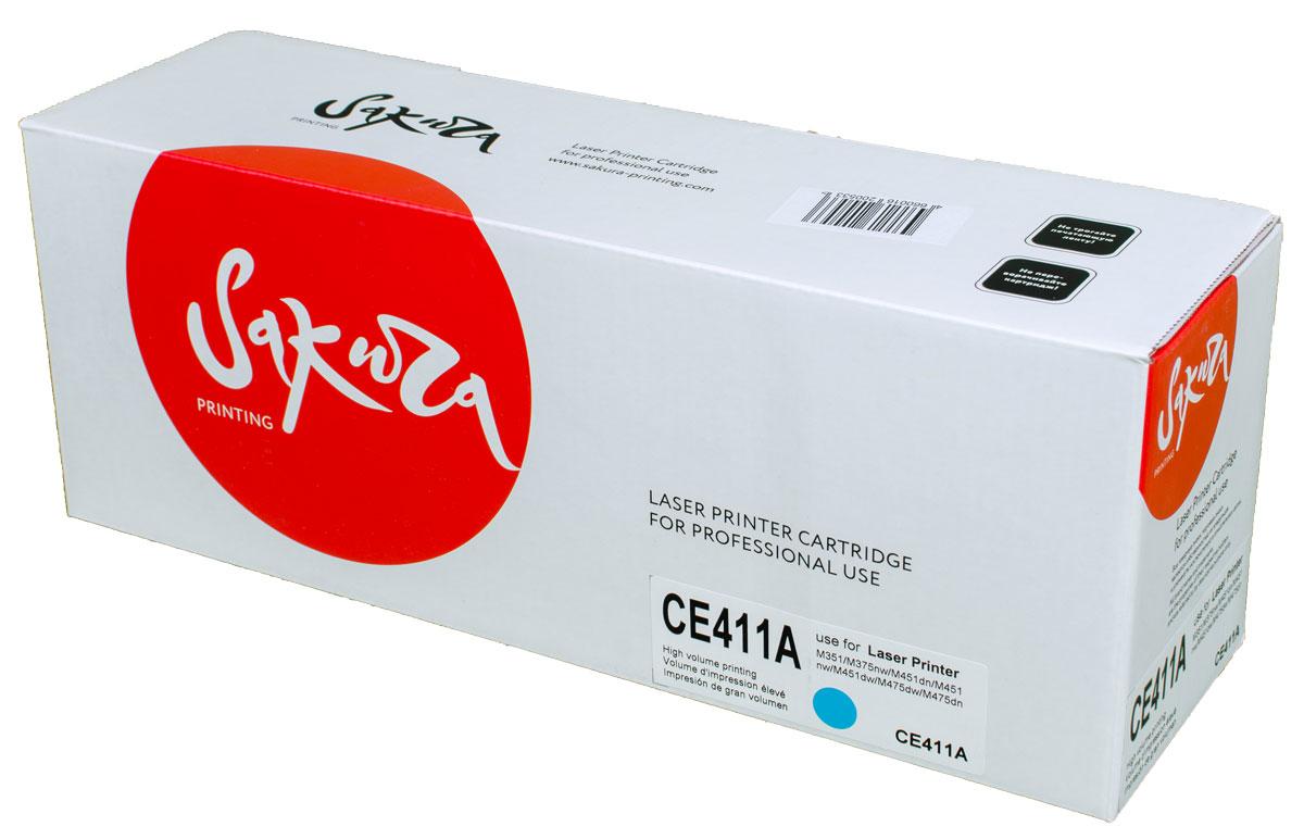 Sakura CE411A, Cyan тонер-картридж для HP LaserJet Pro Color M351/M375nw/M451dn/M451nw/M451dw/M475dw/M475dnSACE411AТонер-картридж Sakura CE411A для лазерных принтеров HP LaserJet Pro Color M351/M375nw/M451dn/M451nw/M451dw/M475dw/M475dn является альтернативным решением для замены оригинальных картриджей. Он печатает с тем же качеством и имеет тот же ресурс, что и оригинальный картридж. В картриджах компании Sakura используется химический синтезированный тонер, который в отличие от дешевого тонера из перемолотого полимера, не царапает, а смазывает печатающий вал, что приводит к возможности многократных перезаправок картриджей. Такой подход гарантирует долгий срок службы принтера, превосходное качество и стабильность печати.Тонер-картриджи Sakura производятся при строгом соответствии стандартам ISO 9001 и ISO 14001, что подтверждено международными сертификатами.
