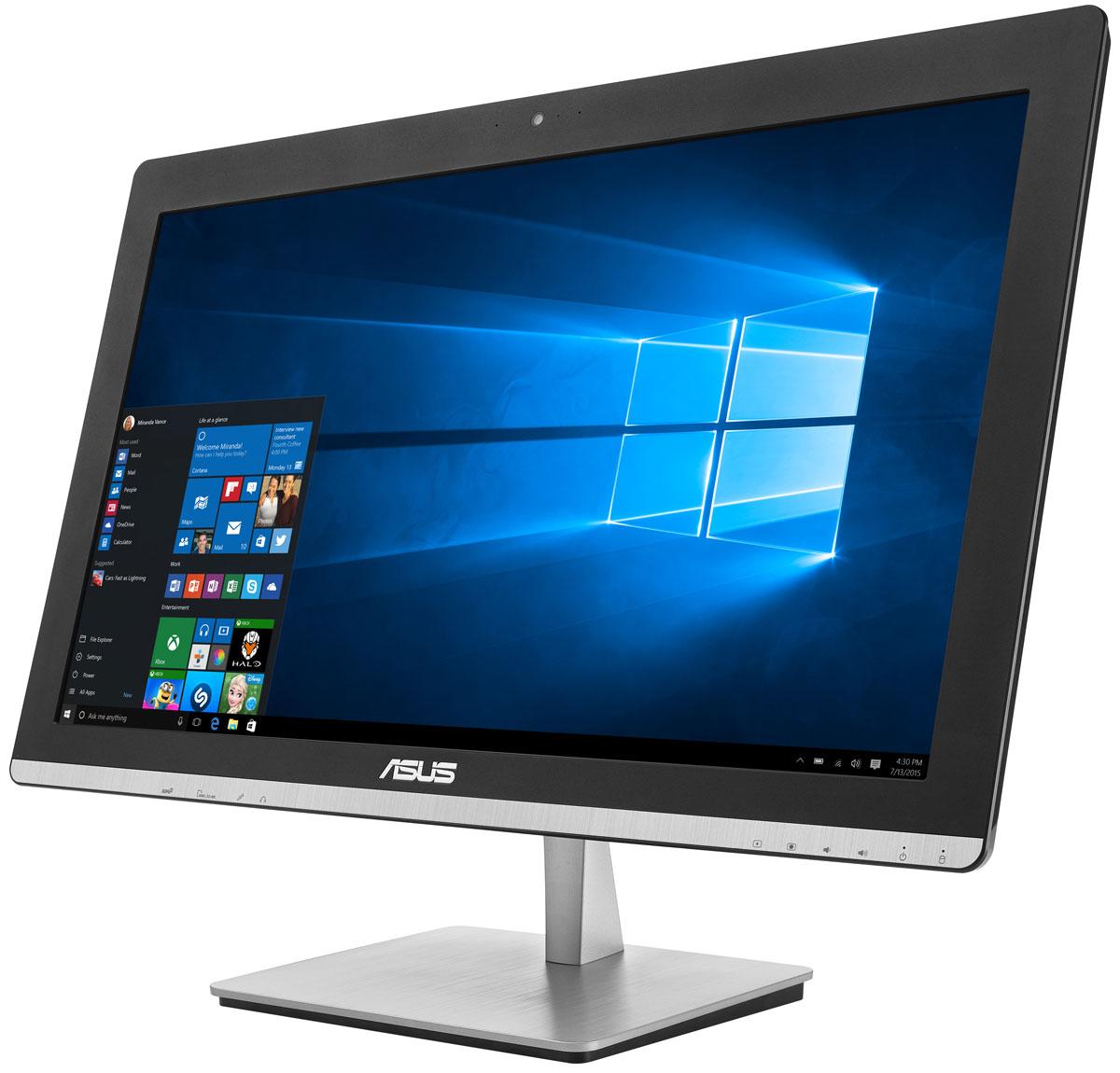 ASUS Vivo AiO V230ICGK-BC274X, Black моноблокV230ICGK-BC274XУстройство Asus V230ICGK - это полноценный моноблочный компьютер, включающий в себя дисплей, процессор, видеокарту, оперативную и пользовательскую память. Он выполнен в красивом корпусе, который будет удачно смотреться в домашнем интерьере.Компактное полнофункциональное устройство, такое как моноблочный компьютер Asus V230ICGK, идеально подходит для современного дома, поскольку его можно использовать для самых различных приложений, как рабочих, так и развлекательных, при этом не засоряя домашний интерьер множеством кабелей и дополнительных приспособлений. Изящная подставка прочно удерживает моноблочный компьютер на месте. В отличие от подставок аналогичных моделей, ее верхний конец прикреплен к задней панели дисплея, а не к его основанию.Моноблочный компьютер Asus V230ICGK оснащается процессором Intel Pentium G4400T, который показывает высокую производительность при низком энергопотреблении. С ним можно комфортно выполнять любые задачи, от веб-серфинга и создания мультимедийных презентаций до редактирования видеороликов.Моноблок Asus V230ICGK оснащен современной графической подсистемой. NVIDIA GeForce 930M поможет ускорить процесс создания видео в HD-качестве и обработку фотографий, а также даст возможность насладиться плавной визуализацией и отменной реакцией в современных играх.Asus V230ICGK обладает ультратонким экраном со светодиодной подсветкой, обеспечивающим высокую яркость и контрастность изображения. Благодаря широким углам обзора IPS-матрицы картинка на экране моноблока не претерпевает каких-либо искажений цветопередачи при изменении угла, под которым вы смотрите на экран. Разрешение Full HD (1920x1080) позволяет наслаждаться играми и фильмами с безупречной четкостью.Точная цветопередача делает любое изображение на экране этого компьютера невероятно реалистичным, будь то картинка вечернего заката или семейное фото.Благодаря эксклюзивной технологии SonicMaster встроенная аудиосистема Asus V230ICGK 