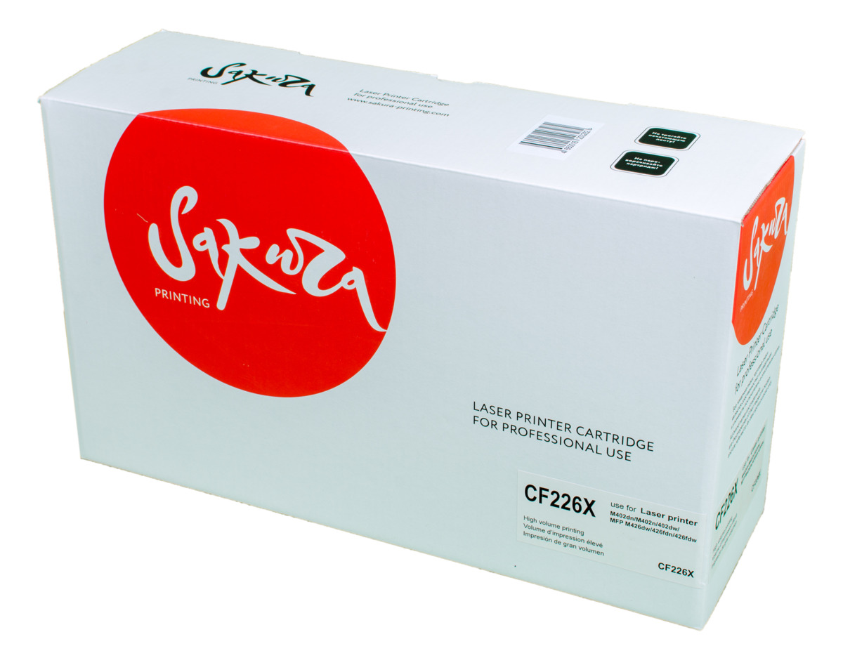 Sakura CF226X, Black тонер-картридж для HP LaserJet Pro M402n/M402dn/M402dw/M426dw/M426fdn/M426fdwSACF226XТонер-картридж Sakura CF226X для лазерных принтеров HP LaserJet Pro M402n/M402dn/M402dw/M426dw/M426fdn/M426fdw является альтернативным решением для замены оригинальных картриджей. Он печатает с тем же качеством и имеет тот же ресурс, что и оригинальный картридж. В картриджах компании Sakura используется химический синтезированный тонер, который в отличие от дешевого тонера из перемолотого полимера, не царапает, а смазывает печатающий вал, что приводит к возможности многократных перезаправок картриджей. Такой подход гарантирует долгий срок службы принтера, превосходное качество и стабильность печати.Тонер-картриджи Sakura производятся при строгом соответствии стандартам ISO 9001 и ISO 14001, что подтверждено международными сертификатами.