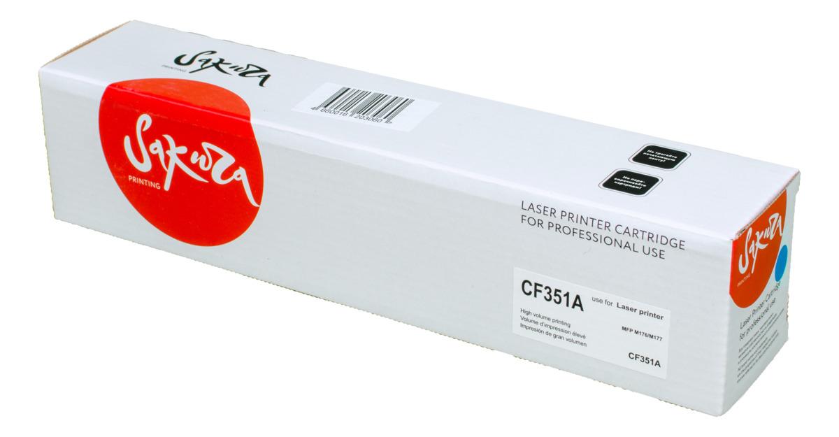 Sakura CF351A, Cyan тонер-картридж для HP LaserJet Pro M176/M177SACF351AТонер-картридж Sakura CF351A для лазерных принтеров HP LaserJet Pro M176/M177 является альтернативным решением для замены оригинальных картриджей. Он печатает с тем же качеством и имеет тот же ресурс, что и оригинальный картридж. В картриджах компании Sakura используется химический синтезированный тонер, который в отличие от дешевого тонера из перемолотого полимера, не царапает, а смазывает печатающий вал, что приводит к возможности многократных перезаправок картриджей. Такой подход гарантирует долгий срок службы принтера, превосходное качество и стабильность печати.Тонер-картриджи Sakura производятся при строгом соответствии стандартам ISO 9001 и ISO 14001, что подтверждено международными сертификатами.