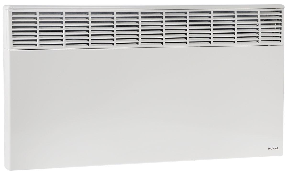 Noirot CNX-2 2500 электрический обогреватель29.7264.8.ARERNoirot CNX-2 2500 - это электрический обогреватель конвективного типа. Вся конструкция прибора направлена на равномерное распределение тепла для обогрева с максимальным комфортом. Устройство работает по принципу естественной конвекции. Холодный воздух, проходя через конвектор и его нагревательный элемент, нагревается и выходит сквозь решетки-жалюзи, незамедлительно начиная обогревать помещение.Обогреватель оснащен надежным механическим термостатом и поддерживает комфортный микроклимат при минимальном потреблении электроэнергии. Прибор применяется в качестве основного и дополнительного отопления загородных домов, городских квартир, застекленных балконов, зимних садов и т. д., а также в других местах, где электрическое отопление является единственно возможным. Конвектор легко и быстро монтируется на стену или устанавливается на специальные ножки (дополнительная опция, приобретаются отдельно).Конструктивные особенности конвектора исключают возникновение посторонних шумов при нагреве и остывании и гарантируют полную безопасность в эксплуатации (отсутствие острых углов, нагрев поверхности не выше 60°С).Автоматика выдерживает перепады напряжения от 150 В до 242 В, что наиболее актуально при частых скачках напряжения. На случай возможных перебоев с электропитанием в обогревателе предусмотрена функция авторестарта, восстанавливающая работу прибора в прежнем режиме.Обогреватель имеет 2 класс электрозащиты, не требует специального подключения к электросети и не нуждается в заземлении, что позволяет оставлять его включенным 24 часа в сутки. При точном соблюдении правил эксплуатации исключена любая возможность воспламенения.Механический термостат обеспечивает поддержание температуры в помещении с точностью до 1°С, что исключает возможность резких перепадов температуры в отапливаемом помещении. Высокоточная автоматика выдерживает перепады напряжения от 150 В до 242 В. CNX-2 2500 выполнен в брызгозащищенном исполнении (IP 