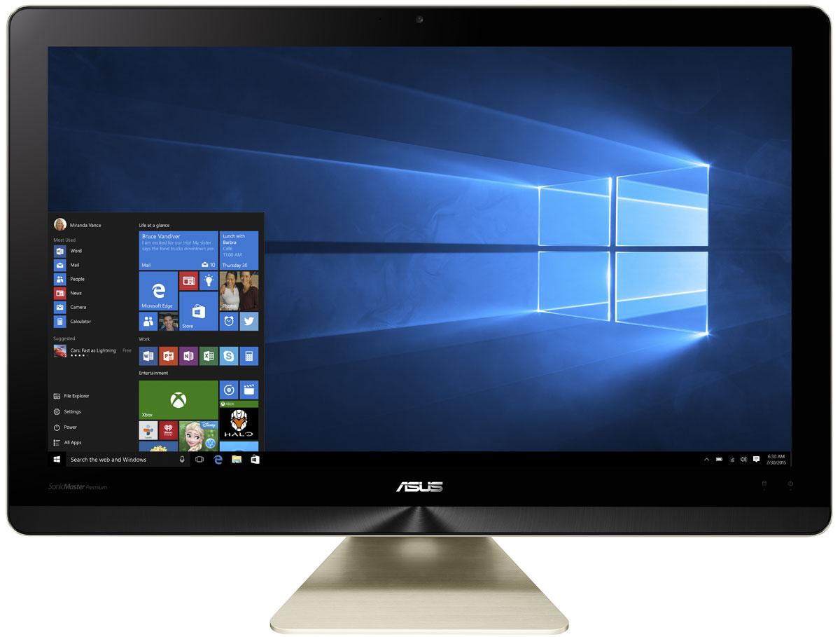 ASUS Zen AiO Pro Z220ICGK-GC092X, Black Gold моноблокZ220ICGK-GC092XМоноблочный компьютер Zen AiO Pro - еще одно доказательство того, что современные технологии могут быть красивыми. Его алюминиевый корпус золотистого цвета с оригинальной текстурой поверхности идеально впишется в любой домашний интерьер.Zen AiO Pro не только великолепно выглядит, но и выдает великолепно выглядящее изображение, ведь его IPS-дисплей обладает разрешением 1920 x 1080, широкими углами обзора (178°) и точной цветопередачей. Компьютер обладает увеличенным цветовым охватом по сравнению с обычными мониторами и способен отображать 100% оттенков цветового пространства sRGB. Это означает более яркие, насыщенные цвета, равно как и более точное, реалистичное отображение каждого цветового оттенка.Это не только красивый, но и высокопроизводительный компьютер. В его изящном корпусе скрываются мощные компоненты, в том числе новейший процессор Intel Core i7, память современного типа DDR4, качественный жесткий диск и дискретная видеокарта геймерского класса GeForce GTX 960M. Все вместе они обеспечивают великолепную скорость работы любых приложений.Встроенная аудиосистема включает в себя 6 динамиков общей мощностью 16 ватт. Комплекс аппаратных и программных технологий под общим названием SonicMaster Premium наделяет этот моноблочный компьютер великолепным голосом при воспроизведении музыки, в играх и любых других мультимедийных приложениях.Каждый покупатель Zen AiO Pro получает бесплатный доступ к онлайн-хранилищу ASUS WebStorage объемом 100 ГБ сроком на 1 год. WebStorage - это современный облачный сервис для хранения файлов и доступа к ним с любого устройства, подключенного к интернету. Поддерживаются автоматическая синхронизация и различные варианты обмена файлами с другими пользователями.Точные характеристики зависят от модели.Компьютер сертифицирован EAC и имеет русифицированную клавиатуру и Руководство пользователя.