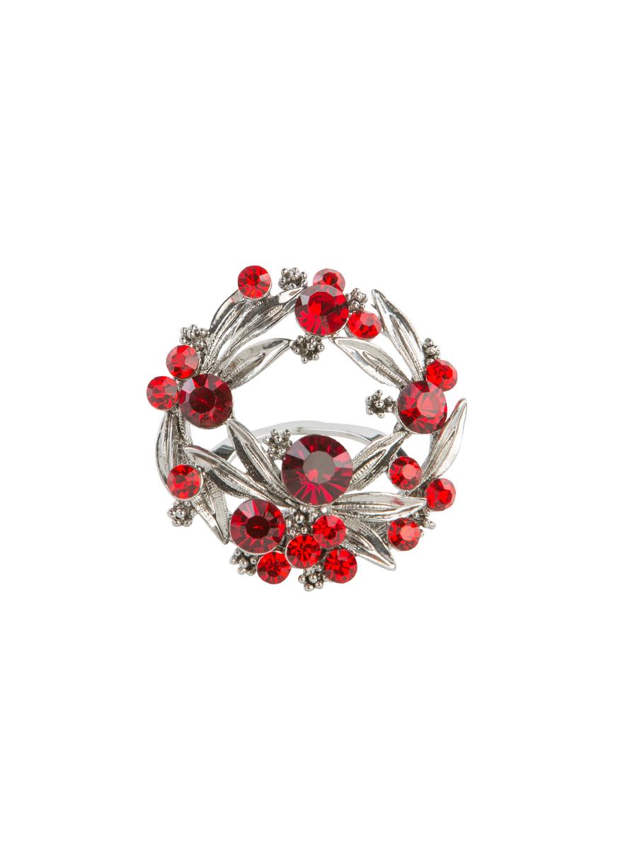 Зажим для платка Charmante, цвет: красный, серебряный. ZZ038Кольцо для платкаОригинальный зажим для платка Charmante выполнен из металла и декорирован яркими стразами. Зажим круглой формы застегивается на клипсу. Стильный зажим для платка придаст вашему образу изюминку и подчеркнет индивидуальность.