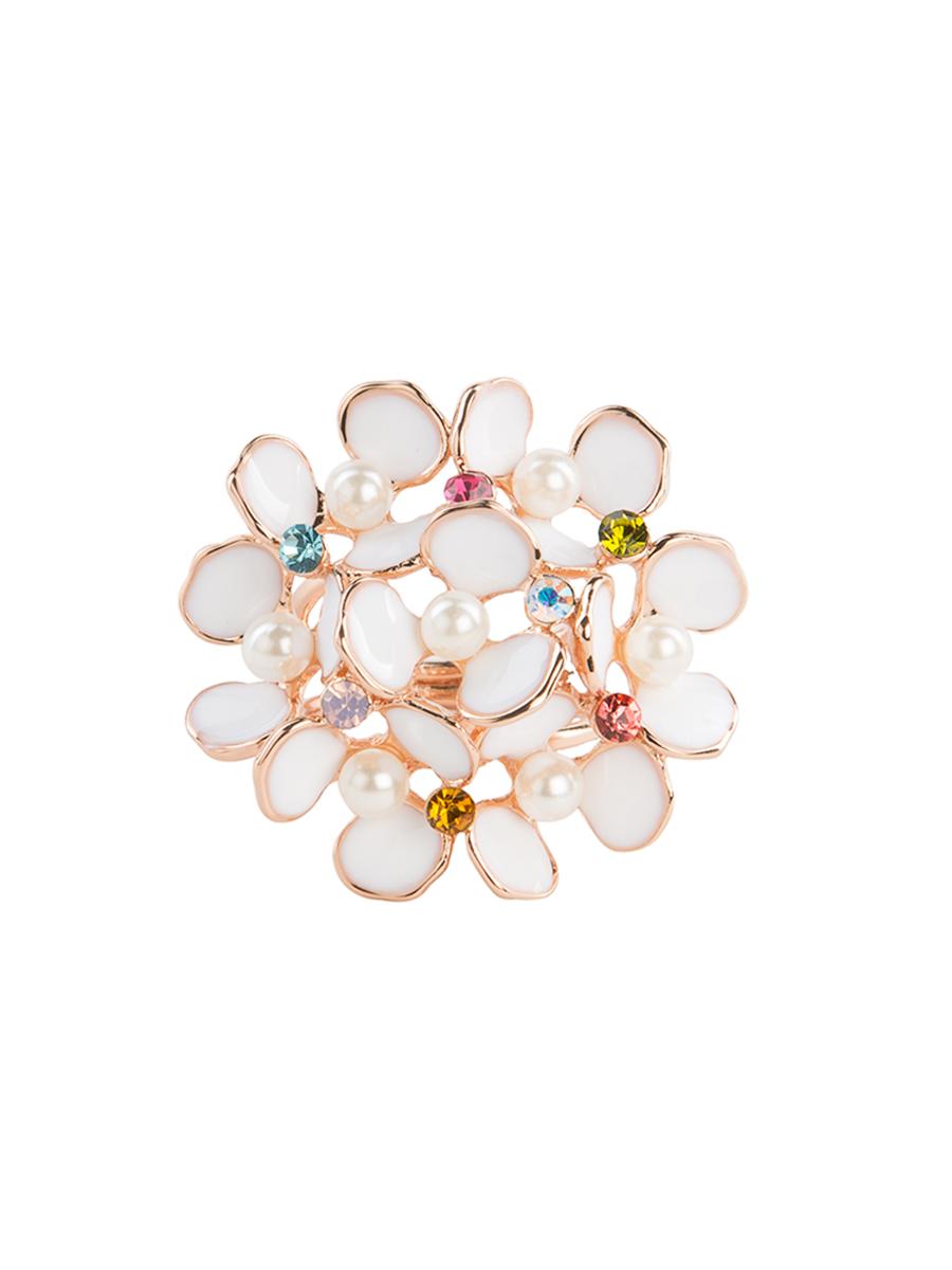 Кольцо для платка Charmante, цвет: белый, золотой. ZK008Кольцо для платкаОригинальное кольцо для платка Charmante выполнено из металла, покрытого эмалью, и декорировано цветными стразами. Аксессуар круглой формы с внутренней стороны дополнен кольцами-держателями. Стильное кольцо придаст вашему образу изюминку и подчеркнет индивидуальность.
