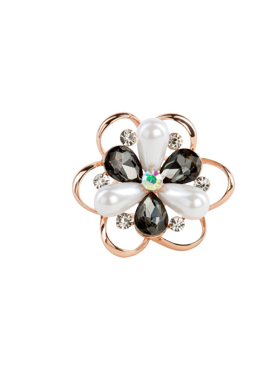 Кольцо для платка Charmante, цвет: белый, графитовый. ZK030Кольцо для платкаОригинальное кольцо для платка Charmante выполнено из металла в виде цветка. Кольцо декорировано стразами разной величины и вытянутыми бусинами. Аксессуар с внутренней стороны дополнен кольцами-держателями.Стильное кольцо придаст вашему образу изюминку и подчеркнет индивидуальность.