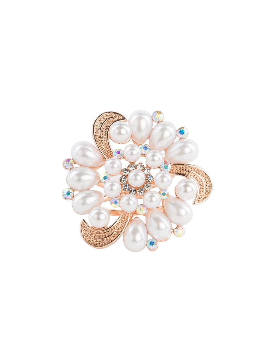 Кольцо для платка Charmante, цвет: золото. ZK016Кольцо для платкаОригинальное кольцо для платка Charmante выполнено из металла. Кольцо круглой формы декорировано стразами и жемчужными бусинами. Аксессуар с внутренней стороны дополнен кольцами-держателями.Стильное кольцо придаст вашему образу изюминку и подчеркнет индивидуальность.