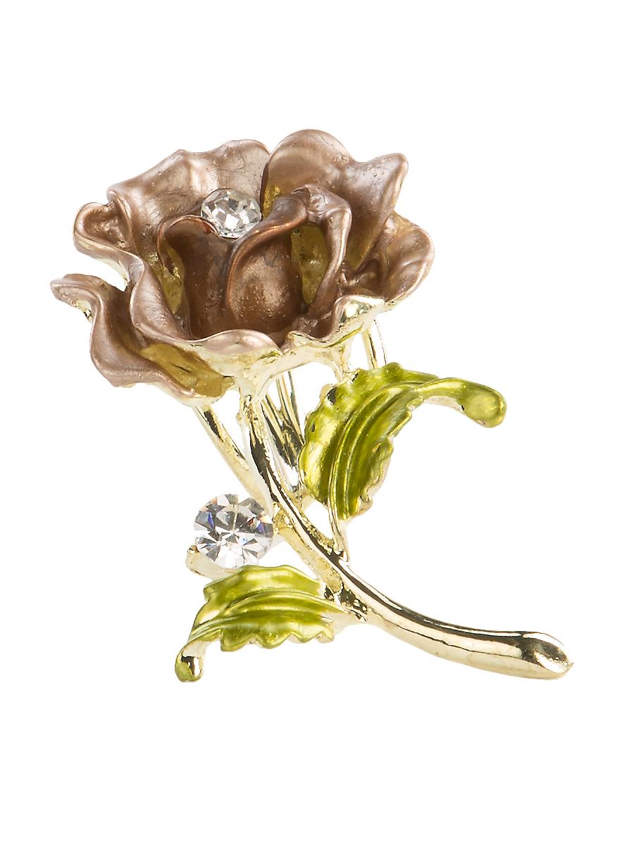 Кольцо для платка Charmante, цвет: золотой, коричневый, зеленый. ZK049Кольцо для платкаОригинальное кольцо для платка Charmante выполнено из металла в виде цветка. Кольцо декорировано крупными стразами. Аксессуар с внутренней стороны дополнен кольцами-держателями.Стильное кольцо придаст вашему образу изюминку и подчеркнет индивидуальность.