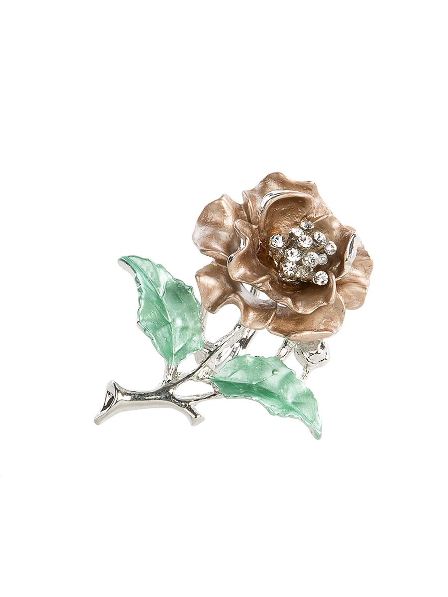 Кольцо для платка Charmante, цвет: серебристый, коричневый, зеленый. ZK0Кольцо для платкаОригинальное кольцо для платка Charmante выполнено из металла в виде цветка. Кольцо декорировано блестящими стразами. Аксессуар с внутренней стороны дополнен кольцами-держателями.Стильное кольцо придаст вашему образу изюминку и подчеркнет индивидуальность.