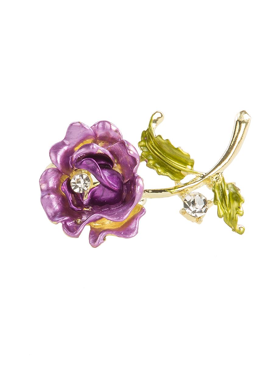 Кольцо для платка Charmante, цвет: лиловый. ZK049Кольцо для платкаОригинальное кольцо для платка Charmante выполнено из металла в виде цветка. Кольцо декорировано блестящими стразами. Аксессуар с внутренней стороны дополнен кольцами-держателями.Стильное кольцо придаст вашему образу изюминку и подчеркнет индивидуальность.