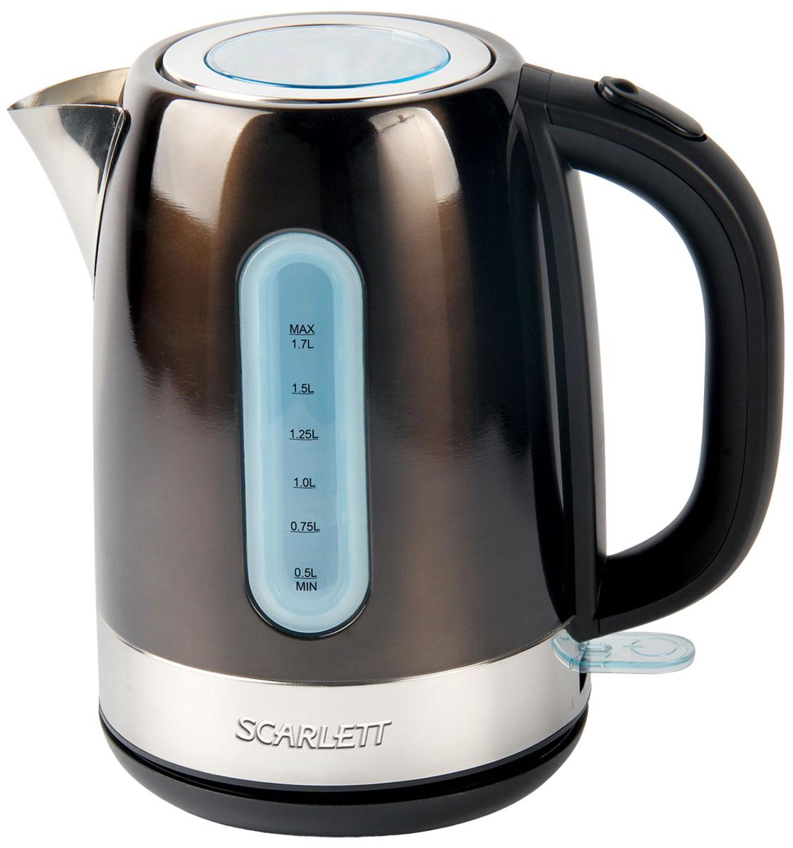 Scarlett SC-EK21S39, Dark Olive электрический чайникSC-EK21S39Электрический чайник Scarlett SC-EK21S39 кипятит воду быстро, чтобы сэкономить ваше время.Корпус из высококачественной матовой нержавеющей стали сохраняет природные свойства воды.Применение современных материалов обеспечивает долговечность и высокие потребительские качества.Резервуар изделия имеет хорошую вместительность - его объём составляет 1,7 литра. Высокая мощность - 2200 Вт - обеспечивает хорошую скорость закипания.Большое смотровое окно в крышке разработано для контроля процесса кипячения.