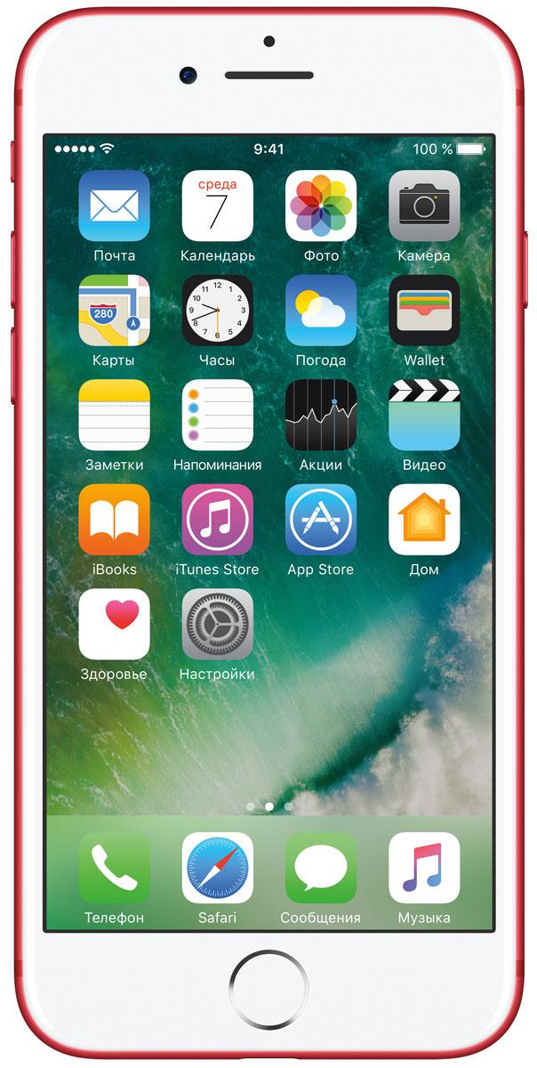 Apple iPhone 7 (PRODUCT)RED Special Edition 128GBMPRL2RU/AiPhone 7 оснащен передовой камерой, которая позволяет делать невероятные снимки, увеличенной производительностью и самым долговечным аккумулятором среди всех iPhone, великолепными стереодинамиками, системой широкой цветопередачи от камеры к дисплею, доступны в двух новых великолепных цветах, а также впервые на iPhone - защита от воды и пыли. В iPhone 7 встроена самая популярная в мире камера. Благодаря совершенно новым функциям она стала ещё лучше. 12-мегапиксельная камера в iPhone 7 оснащена системой оптической стабилизации изображения, обладает расширенной диафрагмой f/1.8 и 6-элементным объективом для съёмки ещё более ярких и детальных фотографий и видео. Расширенный цветовой диапазон позволяет фиксировать яркие цвета во всех деталях.Другие усовершенствования камеры:Новый процессор обработки сигнала изображения, созданный Apple, обрабатывает более 100 миллиардов операций на одной фотографии всего за 25 миллисекунд. Это обеспечивает невероятное качество снимков и видео. Новая 7-мегапиксельная камера FaceTime HD обладает более широкой цветопередачей, передовой технологией пикселей и системой автоматической стабилизации изображения для съёмки отличных селфи.Новая вспышка True Tone Quad-LED на 50% ярче, чем на iPhone 6s. Она оснащена передовой матрицей, которая распознаёт и сглаживает блики на видеозаписях и фотографиях.Работает дольше и эффективнее:Работу всех этих инноваций обеспечивает новый процессор A10 Fusion, специально созданный Apple. Новая архитектура делает его самым мощным процессором в истории смартфонов. При этом он обеспечивает более долгую работу без подзарядки, чем у любого другого iPhone. Процессор A10 Fusion выполнен по 4-ядерной технологии: в нём объединены два высокомощных ядра, работающих почти вдвое быстрее, чем iPhone 6, и два высокоэффективных ядра, которые способны потреблять в 5 раз меньше энергии, чем высокомощные ядра. Скорость обработки графики также возросла: теперь она почти втр