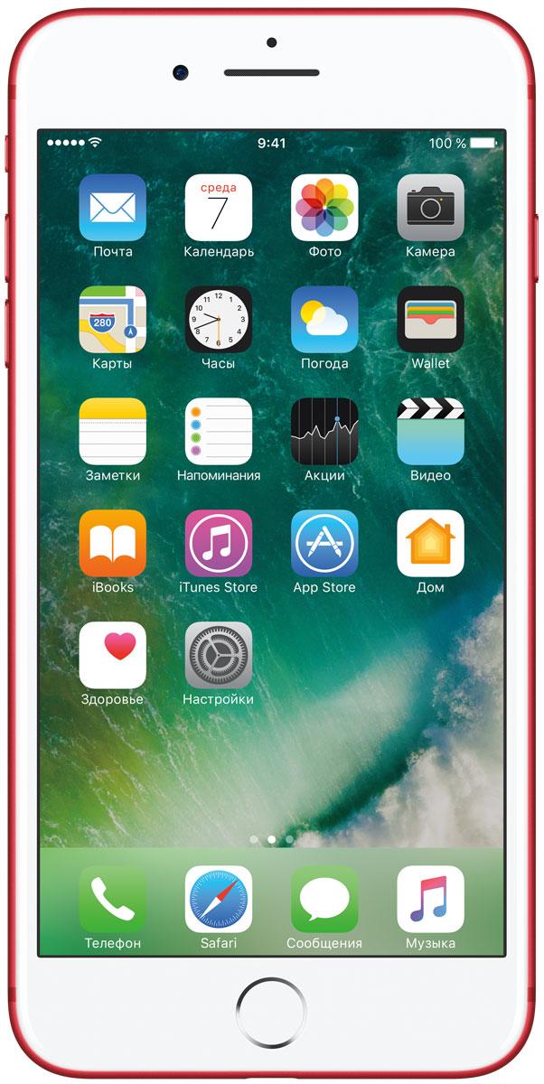 Apple iPhone 7 Plus (PRODUCT)RED Special Edition 256GBMPR62RU/AiPhone 7 Plus оснащен великолепными камерами, которые позволяют делать невероятные снимки. Этот телефон обладает высокой производительностью и самым долговечным аккумулятором среди всех моделей iPhone, великолепными стереодинамиками, системой широкой цветопередачи от камеры на экран. Для iPhone 7 доступны два новых великолепных цвета корпуса, а также обеспечивается защита от воды и пыли. В iPhone 7 Plus встроена самая популярная в мире камера. Благодаря совершенно новым функциям она стала ещё лучше. 12-мегапиксельная камера в iPhone 7 оснащена системой оптической стабилизации изображения, обладает высокой светосилой f/1.8 и 6-элементным объективом для съёмки ярких фотографий и видео с высоким разрешением. Расширенный цветовой диапазон позволяет фиксировать яркие цвета во всех деталях. Позже в этом году обе 12-мегапиксельные камеры в iPhone 7 Plus станут поддерживать новый эффект глубины резкости при съёмке фотографий: сложная технология с системой машинного обучения будет отделять фон от переднего плана. Это позволит снимать великолепные портреты, которые прежде были доступны только пользователям зеркальных фотокамер.Другие усовершенствования камеры Новый процессор обработки сигнала изображения, созданный Apple, выполняет более 100 миллиардов операций на одной фотографии всего за 25 миллисекунд. Это обеспечивает невероятное качество снимков и видео. Новая 7-мегапиксельная камера FaceTime HD обладает более широкой цветопередачей, передовой технологией пикселей и системой автоматической стабилизации изображения для съёмки отличных селфи. Новая вспышка True Tone Quad-LED на 50% ярче, чем в iPhone 6s. Она оснащена передовой матрицей, которая распознаёт и сглаживает блики на видеозаписях и фотографиях.Работает дольше и эффективнее Работу всех этих инноваций обеспечивает новый процессор A10 Fusion, специально созданный Apple. Новая архитектура делает его самым мощным процессором в истории смартфонов. При этом 