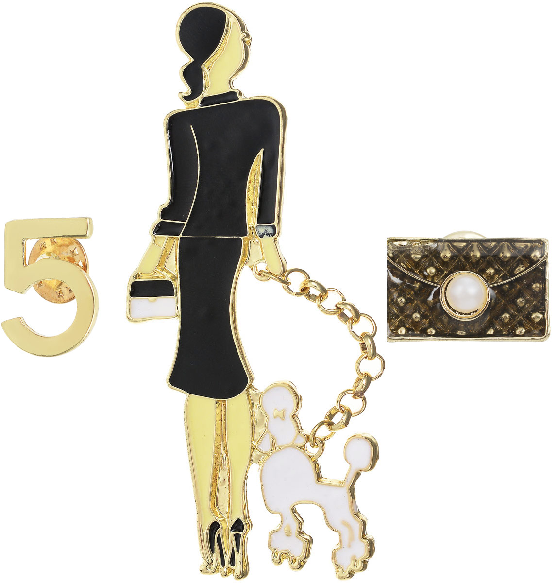 Комплект брошек Дама с пуделем, 3 шт. Цветные эмали, искусственный жемчуг, бижутерный сплав золотого тона. Arrina, ГонконгПуссеты (гвоздики)Комплект брошек Дама с пуделем в стиле Chanel, 3 шт.Цветные эмали, искусственный жемчуг, бижутерный сплав золотого тона.Arrina, Гонконг.Размер:Дама с пуделем - 9 х 3 см.Тип крепления - булавка с застежкой.Сумочка - 3 х 1,5 см.Тип крепления - гвоздик.Цифра 5 - 2 х 1,5 см.Тип крепления - гвоздик.