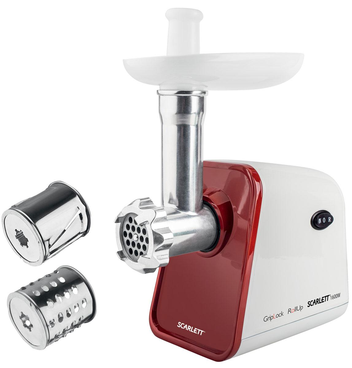 Scarlett SC-MG45M08, White Red мясорубкаSC-MG45M08Мясорубка Scarlett SC-MG45M08 станет незаменимым помощником на кухне и обязательно понравится каждой хозяйке.Технология RoLLUp - специальные насечки внутри горловины повышают производительность на 30%.Технология GripLock - обеспечивает легкую фиксацию и освобождение с помощью кнопки. Надежное металлическое соединение выдерживает высокие нагрузки и эффективно передает энергию мотора, обеспечивая длительный срок службы.Модель обладает высокой мощностью (1600 Вт при блокировке мотора) и способностью быстро измельчать большое количество продуктов - её производительность составляет 2,5 кг/мин.Система автоматического отключения при перегреве обеспечивает безопасное использование кухонного устройства.