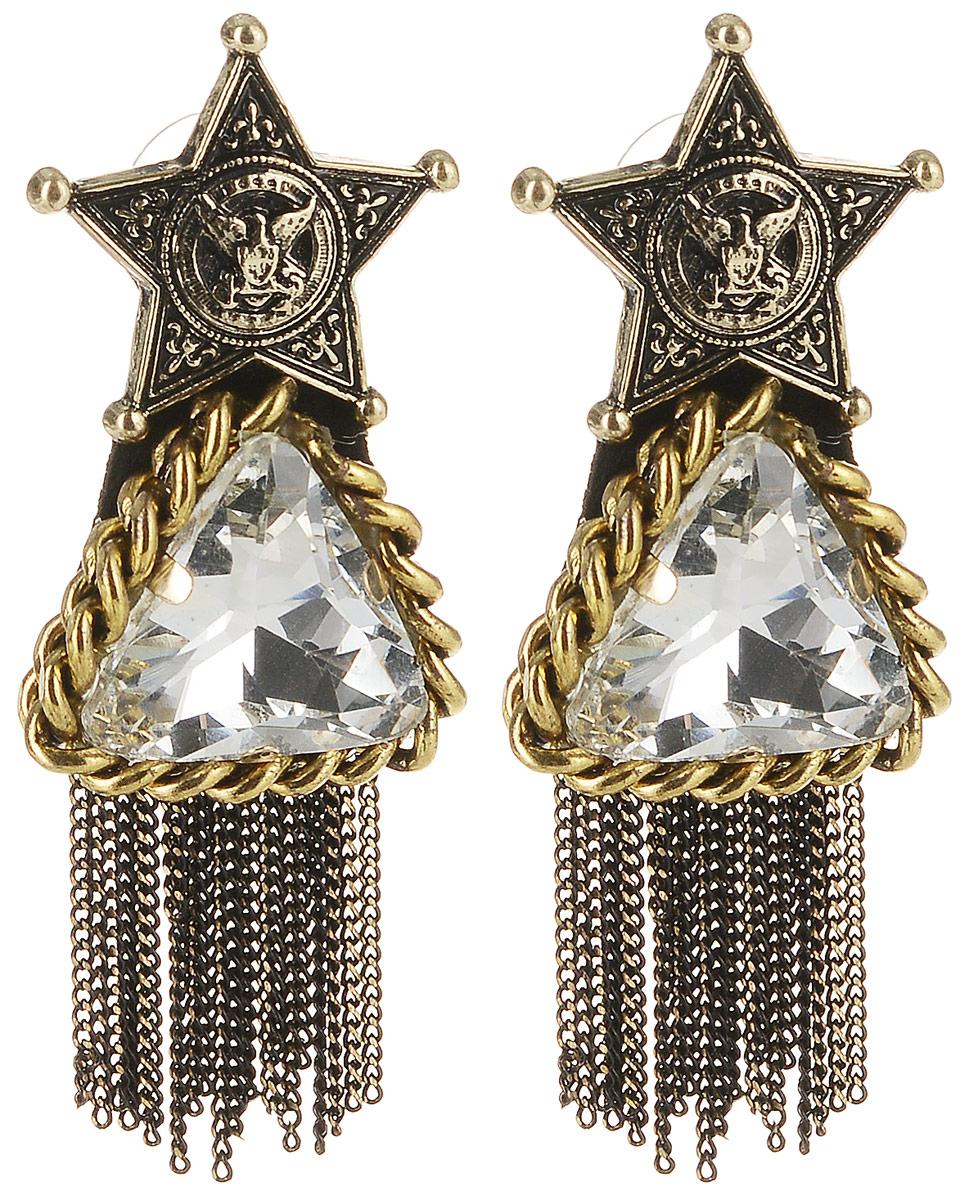 Серьги Taya, цвет: золотистый, белый. T-B-10090Серьги с подвескамиСерьги-гвоздики с силиконовой заглушкой. Украшение сделано в черненом золоте. Оно состоит из трех частей, которые плотно соединены между собой. Сверху расположена звезда с изображением орла, символа победы и величия, в центре - кристалл, обрамленный цепочкой, а низ дополнен стильными цепочками.