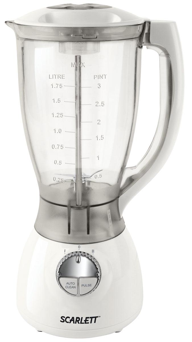 Scarlett SC-4143, White блендерSC-4143_WБлендер с чашей Scarlett SC-4143 - вместительный и компактный прибор, который поможет вам приготовить любимые блюда для всей семьи.2-литровый стакан вмещает в себя количество ингредиентов, достаточное для приготовления супа-пюре, коктейля или любимого соуса. Стакан устанавливается на подставку, оснащенную переключателем.Блендер поддерживает импульсный режим, необходимый для деликатного измельчения орехов, кофе и льда. Удобная ручка из пластика позволяет легко переносить чашу в любое место, круглая крышка предотвращает разбрызгивание содержимого.