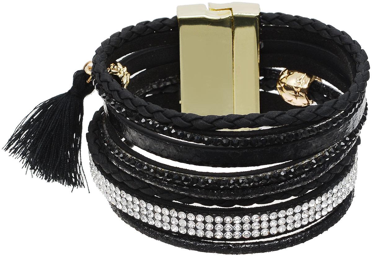 Браслет Taya, цвет: золотистый, черный. T-B-12647Браслет для шармовОригинальный браслет Taya выполнен из бижутерного сплава и искусственной кожи. Композиция состоит из блестящих страз, цепочек и плетеных косичек. Застегивается браслет на широкий магнитный замок.