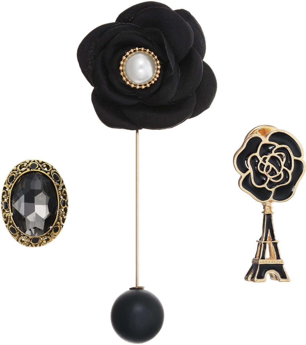 Брошь Taya, цвет: золотистый, 3 шт. T-B-12555Ажурная брошьИзысканный набор Taya из трех брошей: брошь-булавка, в которой снимается черная матовая жемчужина-шар; брошь-значок в виде черно-золотой розы и подвеской Эйфелевой башней; брошь-значок с графитовым кристаллом в богатой рамке цвета черненого золота.