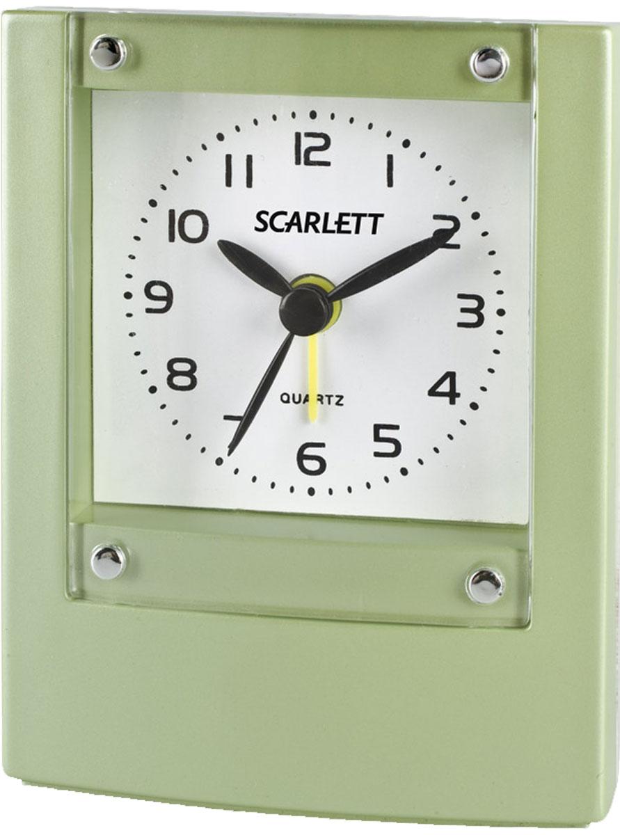 Scarlett SC-801 будильник электронныйSC-801Будильник Scarlett SC-801 имеет надежный часовой механизм и яркий цвет корпуса. Данная модель также оснащена встроенной функцией подсветки. Сигнал будильника работает до его выключения. Питание осуществляется от одной батарейки типа АА (в комплект не входит).