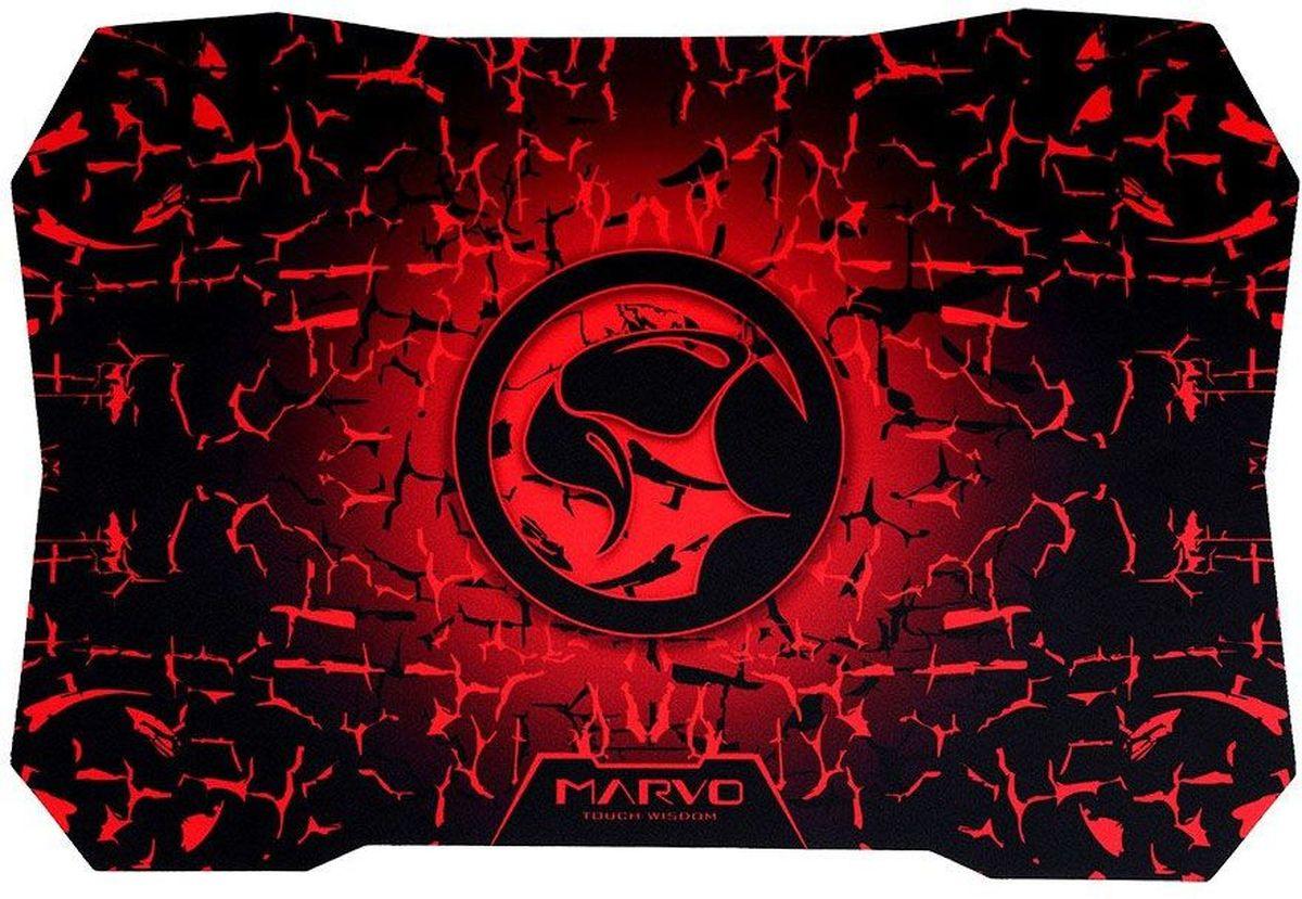 Marvo G2, Black Red игровой коврик для мышиG2Коврик для мыши Marvo G2 создан для игр различных жанров – рекомендуется использовать его для DOTA и WoW. Кроме того, он подходит и для шутеров благодаря специальной форме углов, предотвращающей соскальзывание мышки в наиболее ответственный момент.Аксессуар произведен из материала, включающего в себя резину и натуральную ткань. Благодаря этому он очень прочен и приятен на ощупь.Коврик очень хорошо закрепляется на столе благодаря нижнему слою, изготовленному из эластичного полимера. Это предотвращает его случайное перемещение.