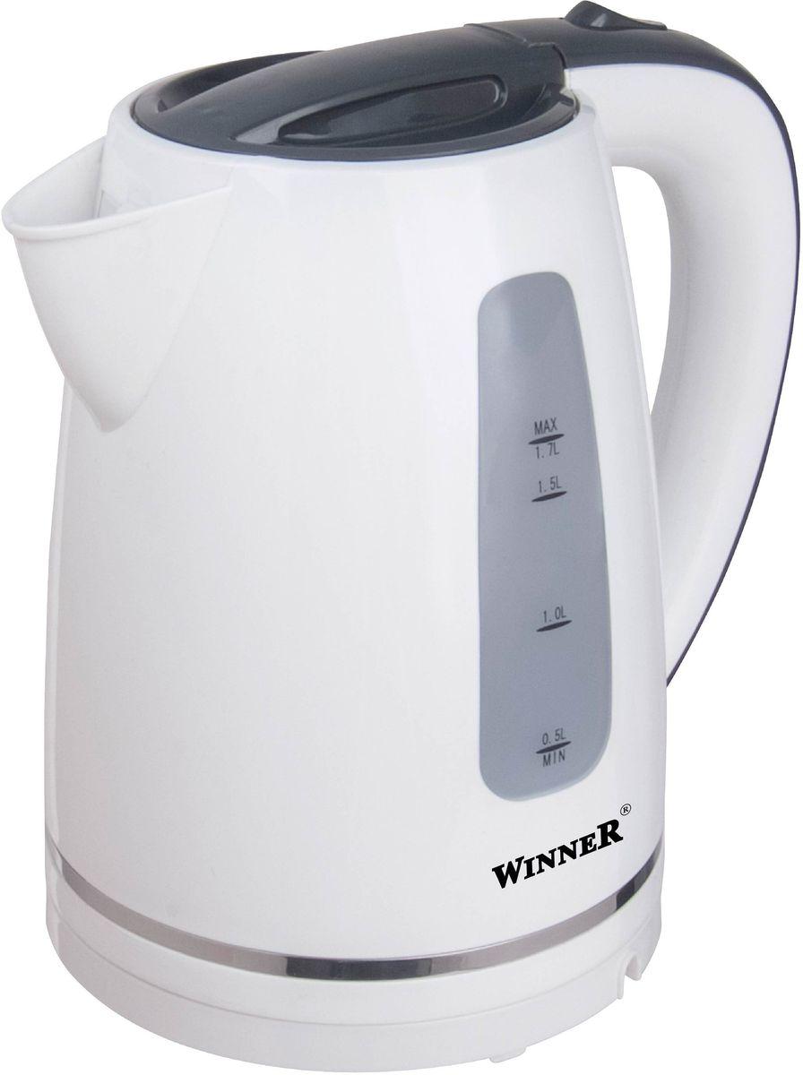 Winner WR-122, White электрический чайникWR-122В чайнике Winner WR-122 гармонично сочетаются отличные эксплуатационные характеристики и эргономичный дизайн. Нагревательный элемент из нержавеющей стали обеспечивает быстрое закипание воды. Наполнять прибор можно через носик, не открывая крышки. Противоскользящее покрытие гарантирует устойчивость. Вы можете быть уверены в безопасности использования прибора благодаря функции автоматического отключения при отсутствии воды и после закипания.
