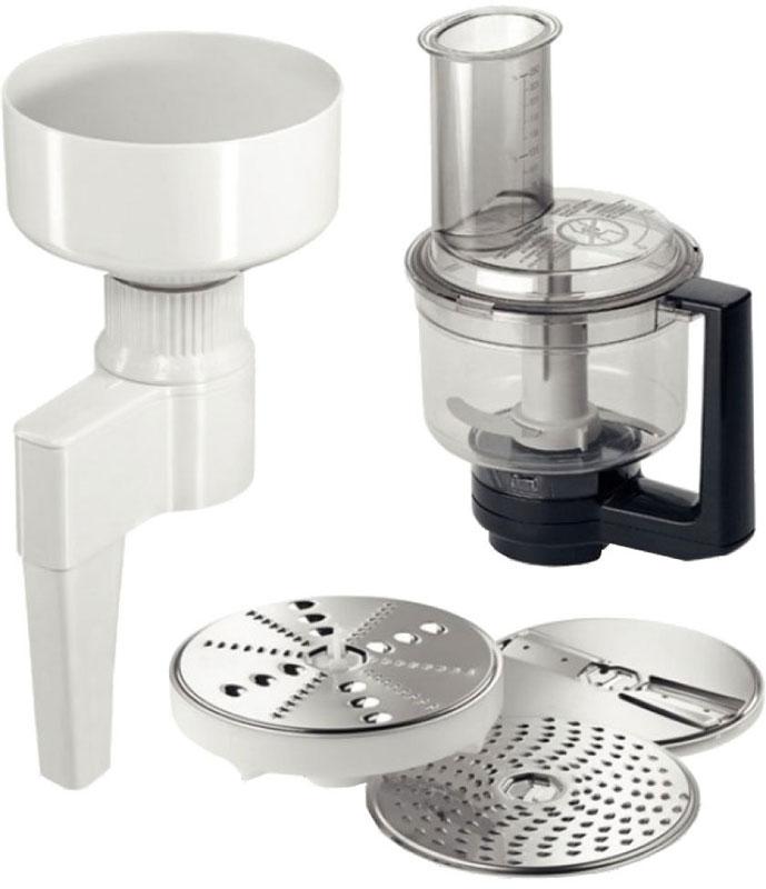 Bosch MUZXLVE1 комплект насадок для кухонных комбайновMUZXLVE1Набор насадок Bosch MUZXLVE1 для настоящих гурманов и экспериментаторов. Он содержит в себе мультимиксер с ножом-крыльчаткой и 3 режущими дисками, а также мельницу для помола зерна.Мельница для зерна с жерновами из нержавеющей стали для любого типа зерен (кроме кукурузы). Помол осуществляется непосредственно в рабочую чашу. Бесступенчатая регулировка степени помола. Вместимость загрузочной воронки мельницы: 750 грамм зерен.Мультимиксер состоит из двустороннего диска-терки (крупная/мелкая), двустороннего диска-шиновки (крупная/мелкая), терки для сыра твердых сортов, шоколада и ножа-крыльчатки. Нож и диски из нержавеющей стали. Имеется крышка с загрузочным отверстием и толкателем. Возможность колки льда и измельчения замороженных овощей и фруктов. Высокая надежность посредством блокировки крышки чаши.