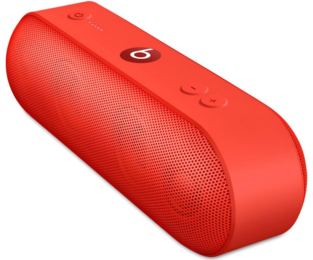 Beats Pill+, Red портативная акустическая системаML4Q2ZE/AАкустическая система Beats Pill+ полностью портативна и наполняет комнату богатым и чистым звучанием — удивительно мощным и чётким. Стильный интерфейс Beats Pill+ интуитивно понятен и открывает совершенно новые возможности для совместного прослушивания музыки.Стереосистема с активным двухканальным кроссовером создаёт великолепное звуковое поле с широким динамическим диапазоном и чётким звучанием во всех музыкальных жанрах. В раздельных динамиках высоких и низких частот используется такая же акустическая схема, как в профессиональных студиях звукозаписи по всему миру.Благодаря продуманному дизайну Beats Pill+ звучит так же хорошо, как и выглядит. В его простом и интуитивно понятном интерфейсе нет ничего лишнего, и включить любимую музыку очень легко.Объедините Beats Pill+ в пару с iPhone, MacBook или любым другим устройством Bluetooth, чтобы слушать музыку, смотреть видео и играть в игры с великолепным качеством звука. Или объедините их в пару с Apple Watch для максимального удобства.Beats Pill+ работает 12 часов без подзарядки - слушайте музыку целый день. Нет времени ждать? Зарядите динамик через прилагаемый кабель Lightning и адаптер питания всего за три часа. Индикатор заряда позволяет отслеживать оставшееся время работы аккумулятора.Пусть музыка играет без остановки: заряжайте iPhone или внешнее музыкальное устройство от динамика Beats Pill+.Загрузите приложение Beats Pill+ из App Store, чтобы разблокировать функции, которые помогут вам с друзьями погрузиться в яркий мир музыки. Подключите второй динамик и слушайте музыку совершенно по-новому. Получайте программные обновления и обращайтесь за технической поддержкой в приложении.