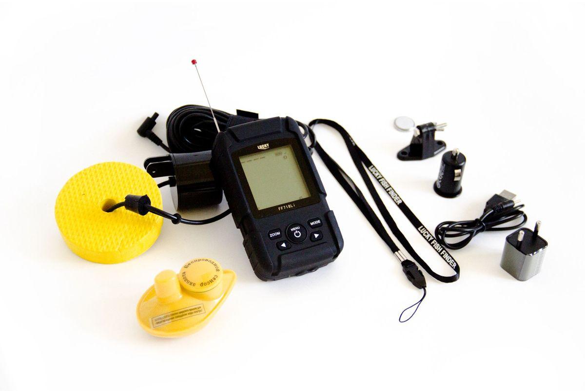 Эхолот рыбопоисковый Lucky, двухчастотный, с радиодатчиком и проводным датчиком, цвет: черный. FF718LiDFF718Li DДисплей: Регулируемый, высококонтрастный ЖК-дисплей; Разрешение: 132х132 Размер дисплея: 41x48 мм Подсветка экрана: Вкл./Выкл Белый светодиод Радиус работы беспроводного датчика до 100м Углы и частоты датчиков: Проводной : 60/20 градусов при 83/200 кГц ; Беспроводной 90 градусов при 125 кГц Единицы измерения температуры: Цельсий/Фаренгейт Питание прибора: 3.7 V перезаряжаемые щелочные батареи Индикатор заряда батареи Настройка уровней чувствительности Отображение иконки рыбы, сигнализации рыбы Отображение рельефа дна Единицы измерения расстояния Метр/Фут Индикатор Температуры Воды Уровень защищенности: IP7.8 Память: встроенная память хранит sonar настройку, если устройство выключено Автоматическое выключение беспроводного датчика при извлечении из воды. Питание беспроводного датчика:одна сменная СR-2032 литиевая батарея Рабочая температура:от -20°С до +70°С
