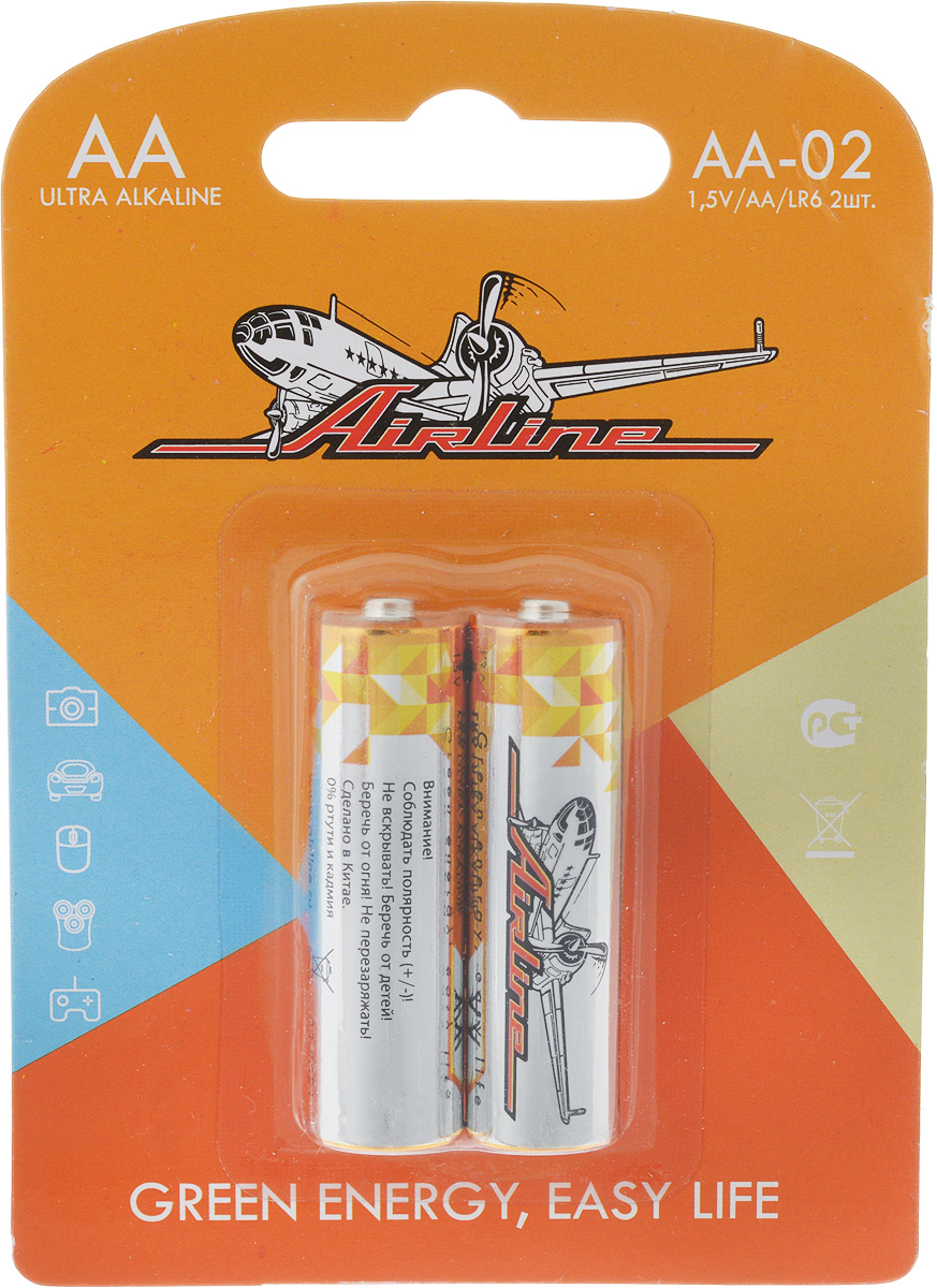 Набор алкалиновых батареек Airline, тип AA, 2 штAA-02Щелочные (алкалиновые) батарейки Airline оптимально подходят для повседневного питания множества современных бытовых приборов: электронных игрушек, фонарей, беспроводной компьютерной периферии и многого другого. Батарейки созданы для устройств со средним и высоким потреблением энергии. Работают в 10 раз дольше, чем обычные солевые элементы питания. В комплект входят две батарейки типа AA.