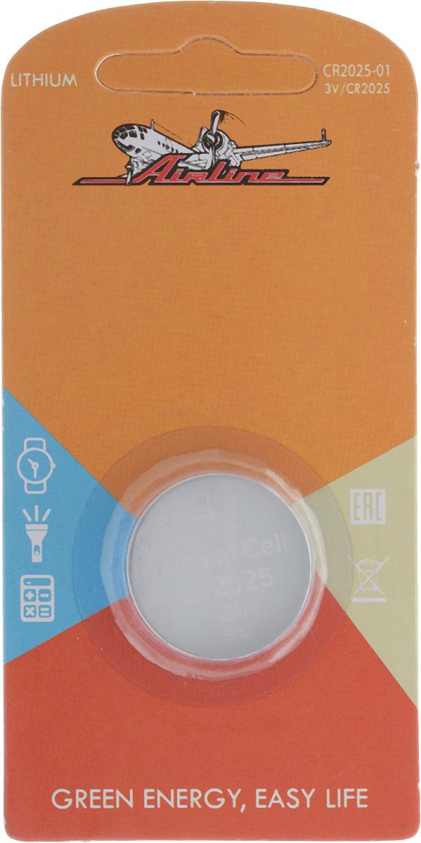 Батарейка литиевая Airline, тип CR2025, 3VCR2025-01Литиевая батарейка Airline типа CR2025 предназначена для обеспечения питания мелкогабаритной техники. Изделие подходит для таких устройств, как брелки, карманные фонарики, сигнализации и многое другое. Работает в 10 раз дольше, чем обычные солевые элементы питания. Диаметр батарейки: 2 см.