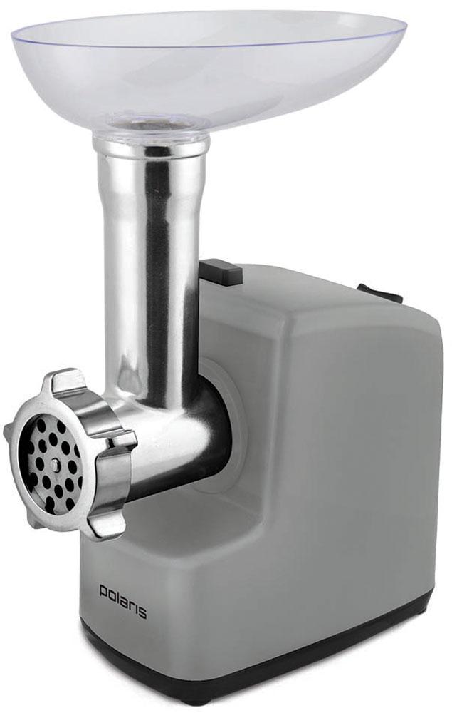 Polaris PMG 2038 мясорубка7912Электрическая мясорубка Polaris PMG 2038 с компактным дизайном для экономии места на кухне, насадкой-овощерезкой 3-в-1, высокой производительностью до 1,8 кг фарша в минуту, функцией реверса, а также защитой двигателя от перегрева. В комплекте: 2 сетки из высококачественной стали (5 мм, 7 мм), мясоприемник из высококачественного пластика, пластиковый толкатель, овощерезка (3 барабана), крупная терка, мелкая терка, терка для шинкования.