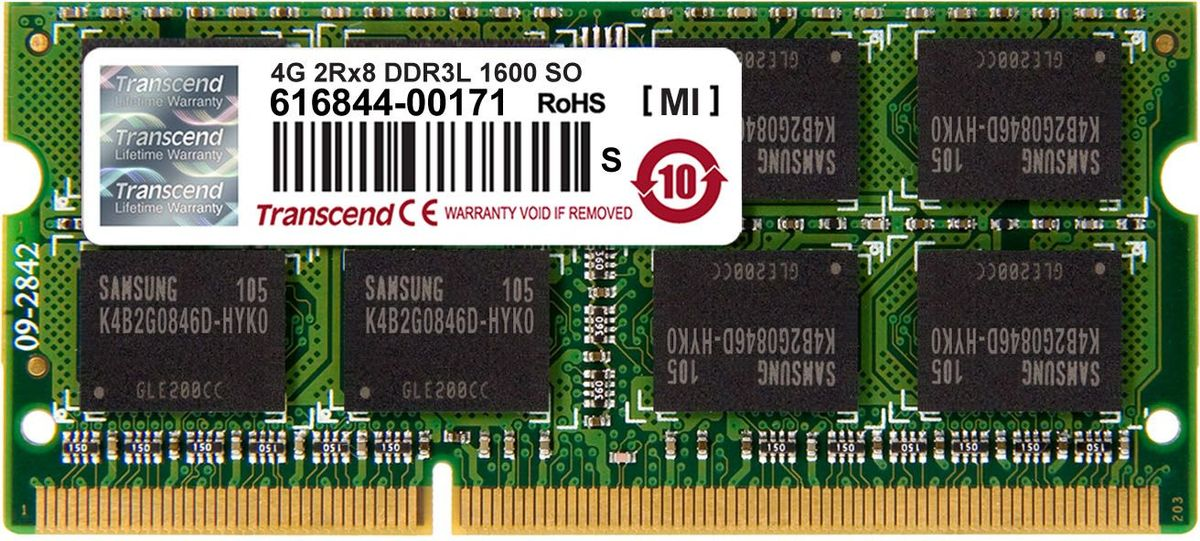 Transcend DDR3L SODIMM 4GB 1600МГц модуль оперативной памятиTS512MSK64W6NМиниатюрные размеры модуля памяти Transcend DDR3L SODIMM 4GB делают его подходящим для использования в ноутбуках. Частота 1600 МГц обеспечивает его высокую производительность (этот параметр легко можно отследить с помощью стандартного теста, проведенного любой операционной системой). Установка проста, не занимает много времени и не требует от вас наличия специальных знаний и умений. Модуль изготовлен из высококачественного текстолита, благодаря чему обладает очень высокой прочностью и долговечностью.Количество ранков: 2