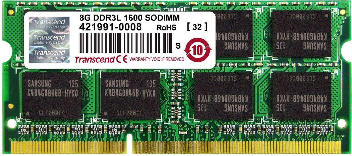 Transcend DDR3L SO-DIMM 8GB 1600МГц модуль оперативной памятиTS1GSK64W6HМиниатюрные размеры модуля памяти Transcend DDR3L SODIMM 8GB делают его подходящим для использования в ноутбуках. Частота 1600 МГц обеспечивает его высокую производительность (этот параметр легко можно отследить с помощью стандартного теста, проведенного любой операционной системой). Установка проста, не занимает много времени и не требует от вас наличия специальных знаний и умений. Модуль изготовлен из высококачественного текстолита, благодаря чему обладает очень высокой прочностью и долговечностью.