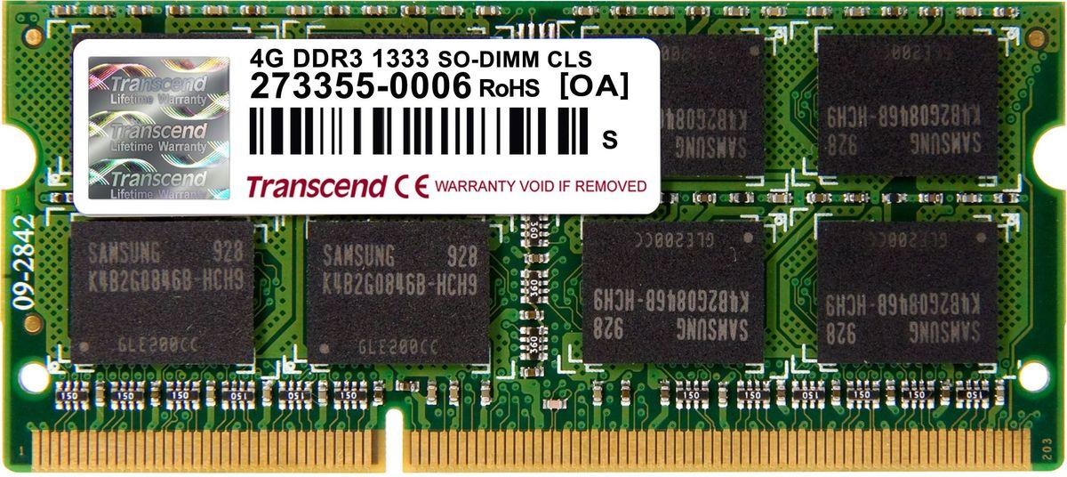 Transcend DDR3 SO-DIMM 4GB 1333МГц модуль оперативной памяти (TS512MSK64V3N)