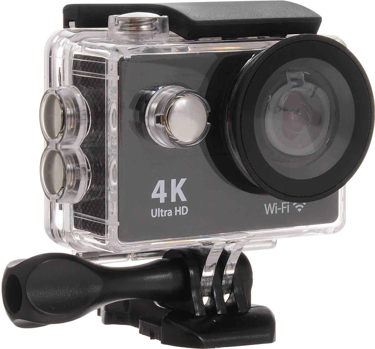 Eken H9R Ultra HD, Black экшн-камераH9RЭкшн-камера Eken H9R Ultra HD позволяет записывать видео с разрешением 4К и очень плавным изображением до 30 кадров в секунду. Камера оснащена 2 TFT LCD экраном. Эта модель сделана для любителей спорта на улице, подводного плавания, скейтбординга, скай-дайвинга, скалолазания, бега или охоты. Снимайте с руки, на велосипеде, в машине и где угодно. По сравнению с предыдущими версиями, в Eken H9R Ultra HD вы найдете уменьшенные размеры корпуса, увеличенный до 2-х дюймов экран, невероятную оптику и фантастическое разрешение изображения при съемке 30 кадров в секунду!Управляйте вашей H9R на своем смартфоне или планшете. Приложение Ez iCam App позволяет работать с браузером и наблюдать все то, что видит ваша камера. В комплекте с камерой идет пульт ДУ работающий на частоте 2,4 ГГц. Он позволяет начинать и заканчивать съемку удаленно.