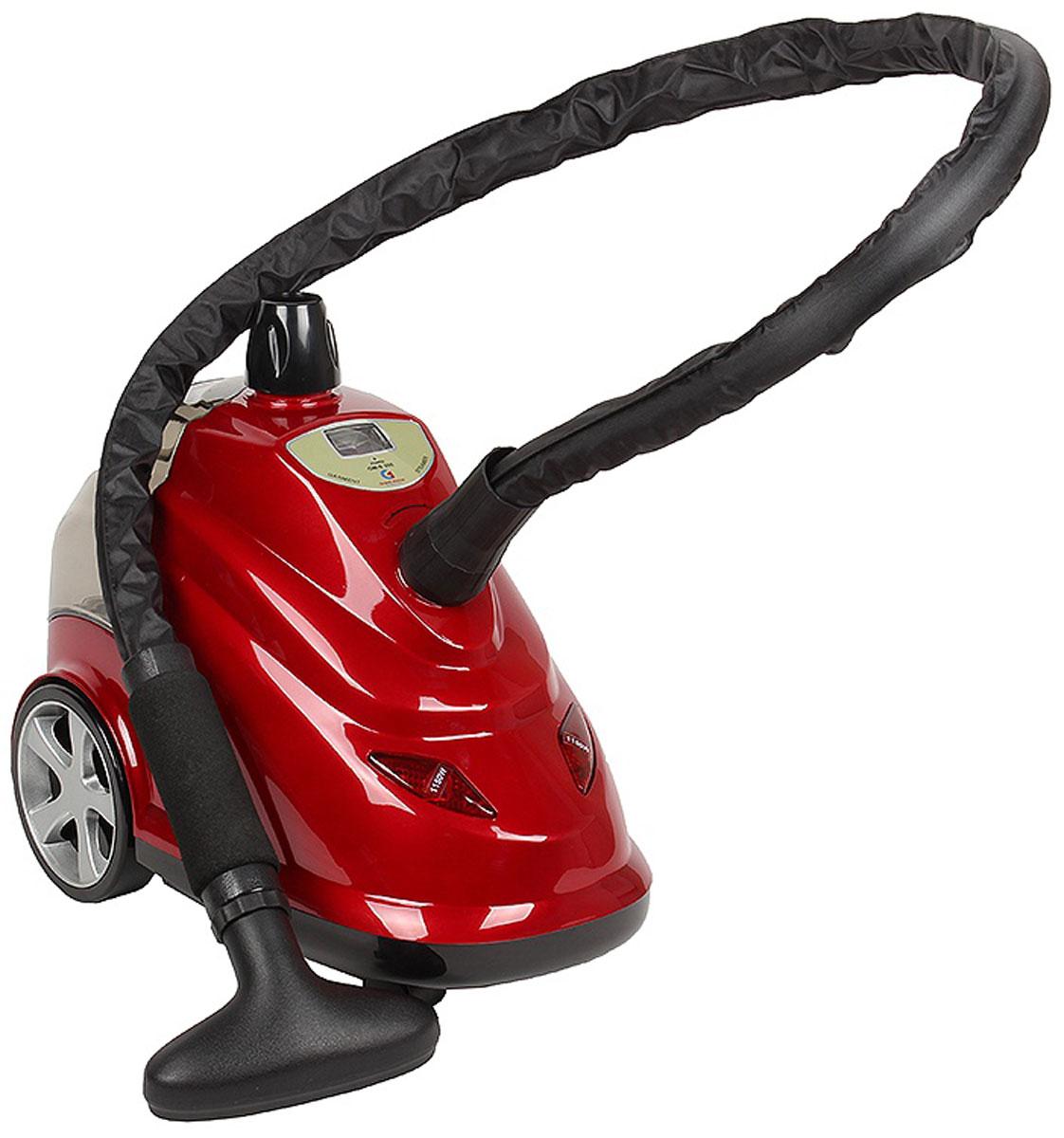 Grand Master GM-S205 Professional, Red отпаривательS205ProfessionalGrand Master GM-S205 Professional – профессиональный отпариватель, очень мощный. Этот отпариватель дает настоящий профессиональный результат глажения благодаря продуманной конструкции и бойлеру 2300 Вт.При размещении на вешалке объемной верхней одежды устойчивость отпаривателя может нарушиться, на этот случай внизу корпуса находятся выдвижные подставки для сохранения устойчивого равновесия всей конструкции.Отпариватель GM-S205 Professional имеет два режима отпаривания. Режимы выбираются путем нажатия кнопок на фронтальной части корпуса аппарата. При нажатии одной кнопки отпариватель работает с мощностью 1150 Вт. При нажатии двух - с мощностью 2300 Вт.Надежность конструкции, большая мощность, дополнительное приспособление в виде мини гладильной доски – все это дает GM-S205 Professional возможность добиваться лучших результатов отпаривания за еще более короткое время и право называться профессиональным отпаривателем для одежды.Максимальная температура: 98°СВремя непрерывной работы: 2 чВремя ожидания готовности: 45 сек