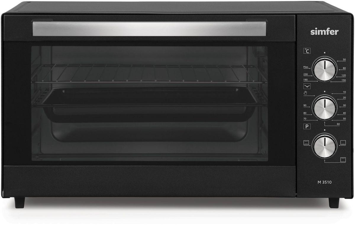 Simfer M3510 мини-печьM3510Электропечь Simfer M3510 с антипригарным покрытием порадует всех любителей готовить быстро, вкусно и всегда удачно, поскольку обладает лучшими рабочими режимами и функциями для получения самых разнообразных блюд и прекрасной выпечки!Объем духовки равен 35 литрам с мощным верхним и нижним нагревом, благодаря чему всегда можно побаловать себя и своих близких замечательной сочной курочкой с аппетитно хрустящей поджаренной корочкой, а также приготовлением домашнего шашлыка! Температура приготовления регулируется в диапазоне от 0 до 250 градусов, а также можно выбрать время приготовления блюд благодаря таймеру с установкой до 90 минут. Simfer M3510 проста в уходе за счет наличия антипригарного покрытия рабочих поверхностей. Дверца духовки оборудована широкой ненагревающейся ручкой, что поможет вам избежать ожогов.