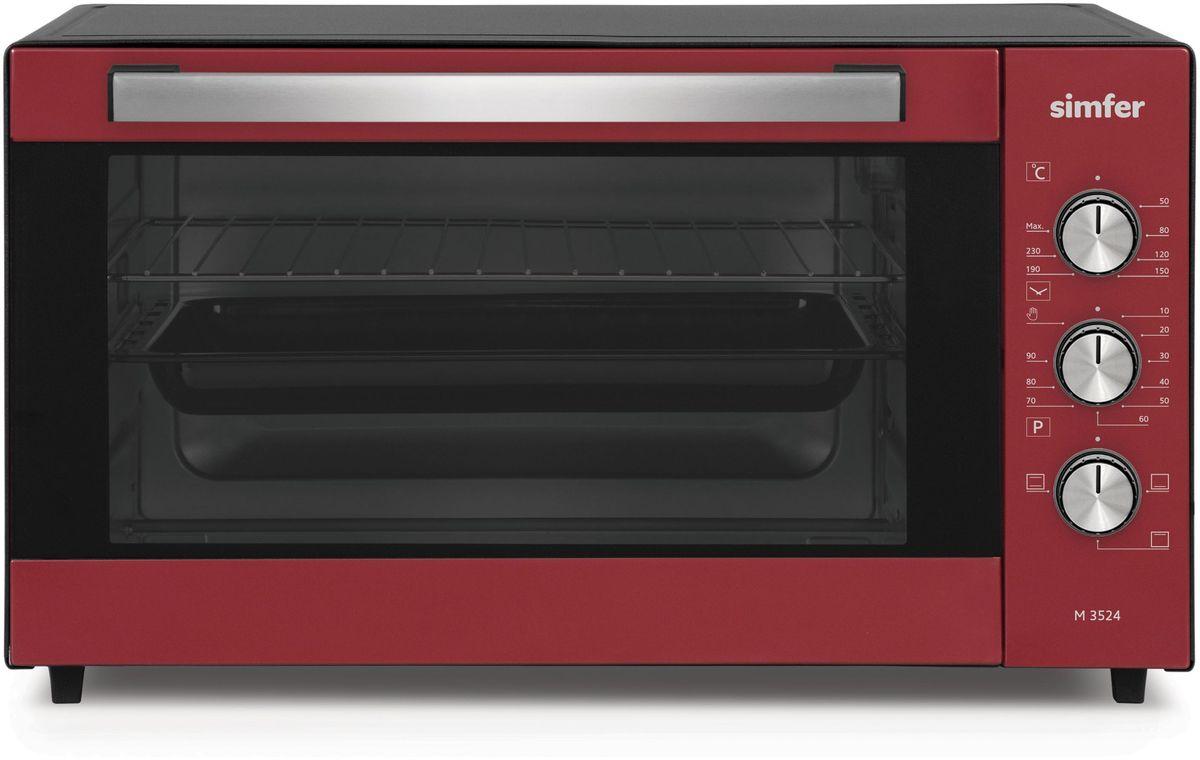 Simfer M3524 мини-печьM3524Электропечь Simfer M3524 с антипригарным покрытием порадует всех любителей готовить быстро, вкусно и всегда удачно, поскольку обладает лучшими рабочими режимами и функциями для получения самых разнообразных блюд и прекрасной выпечки!Объем духовки равен 35 литрам с мощным верхним и нижним нагревом, благодаря чему всегда можно побаловать себя и своих близких замечательной сочной курочкой с аппетитно хрустящей поджаренной корочкой, а также приготовлением домашнего шашлыка! Температура приготовления регулируется в диапазоне от 0 до 250 градусов, а также можно выбрать время приготовления блюд благодаря таймеру с установкой до 90 минут. Simfer M3524 проста в уходе за счет наличия антипригарного покрытия рабочих поверхностей. Дверца духовки оборудована широкой ненагревающейся ручкой, что поможет вам избежать ожогов.