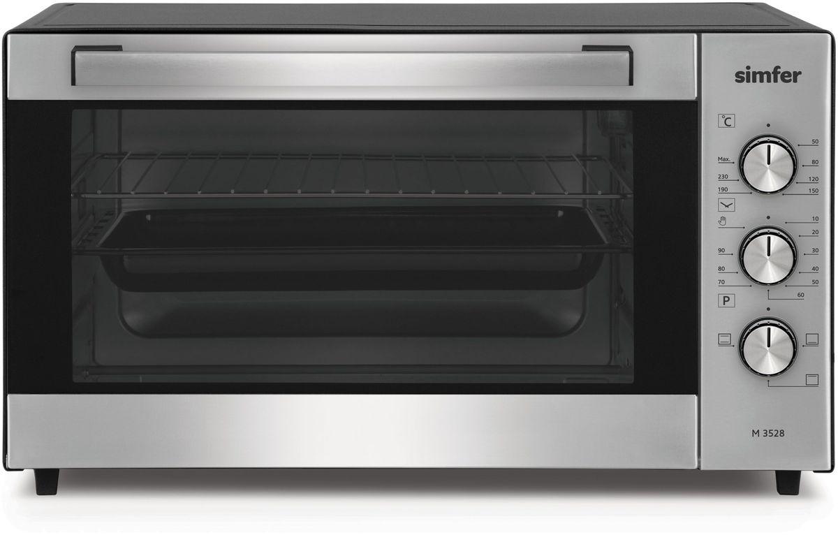 Simfer M3528 мини-печьM3528Электропечь Simfer M3528 с антипригарным покрытием порадует всех любителей готовить быстро, вкусно и всегда удачно, поскольку обладает лучшими рабочими режимами и функциями для получения самых разнообразных блюд и прекрасной выпечки!Объем духовки равен 35 литрам с мощным верхним и нижним нагревом, благодаря чему всегда можно побаловать себя и своих близких замечательной сочной курочкой с аппетитно хрустящей поджаренной корочкой, а также приготовлением домашнего шашлыка! Температура приготовления регулируется в диапазоне от 0 до 250 градусов, а также можно выбрать время приготовления блюд благодаря таймеру с установкой до 90 минут. Simfer M3528 проста в уходе за счет наличия антипригарного покрытия рабочих поверхностей. Дверца духовки оборудована широкой ненагревающейся ручкой, что поможет вам избежать ожогов.
